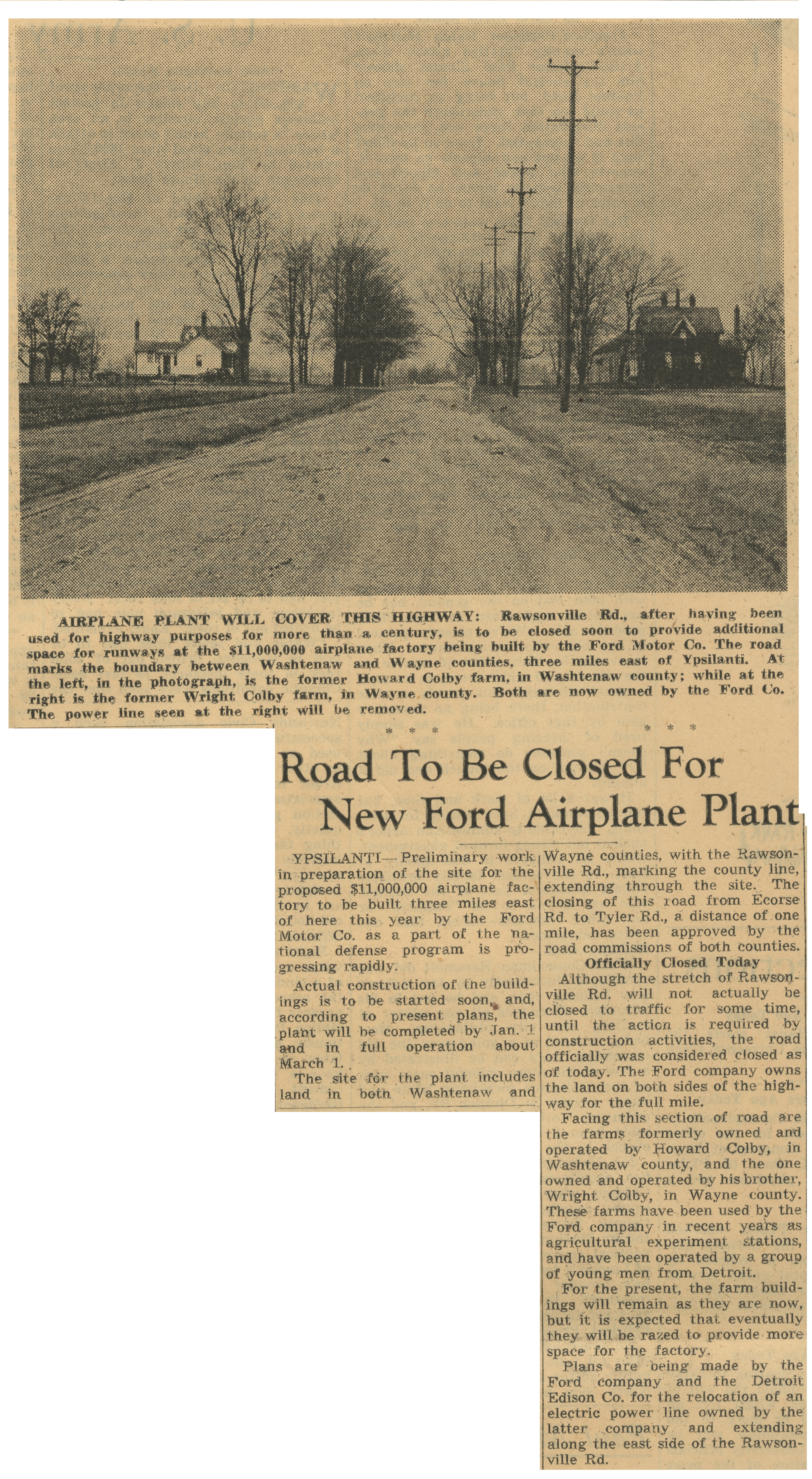 Road To Be Closed For New Ford Airplane Plant image