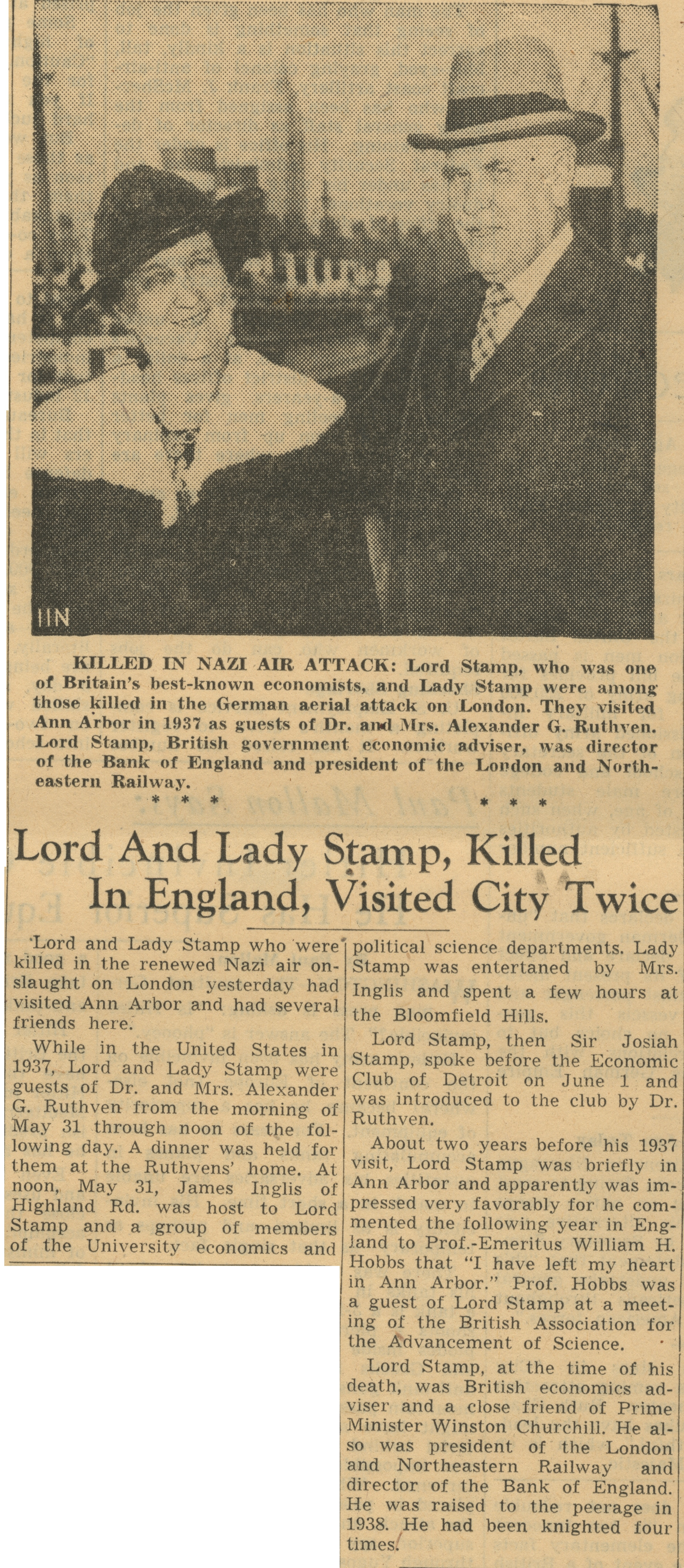Killed In Nazi Air Attack: Lord and Lady Stamp, Killed In England, Visited City Twice image