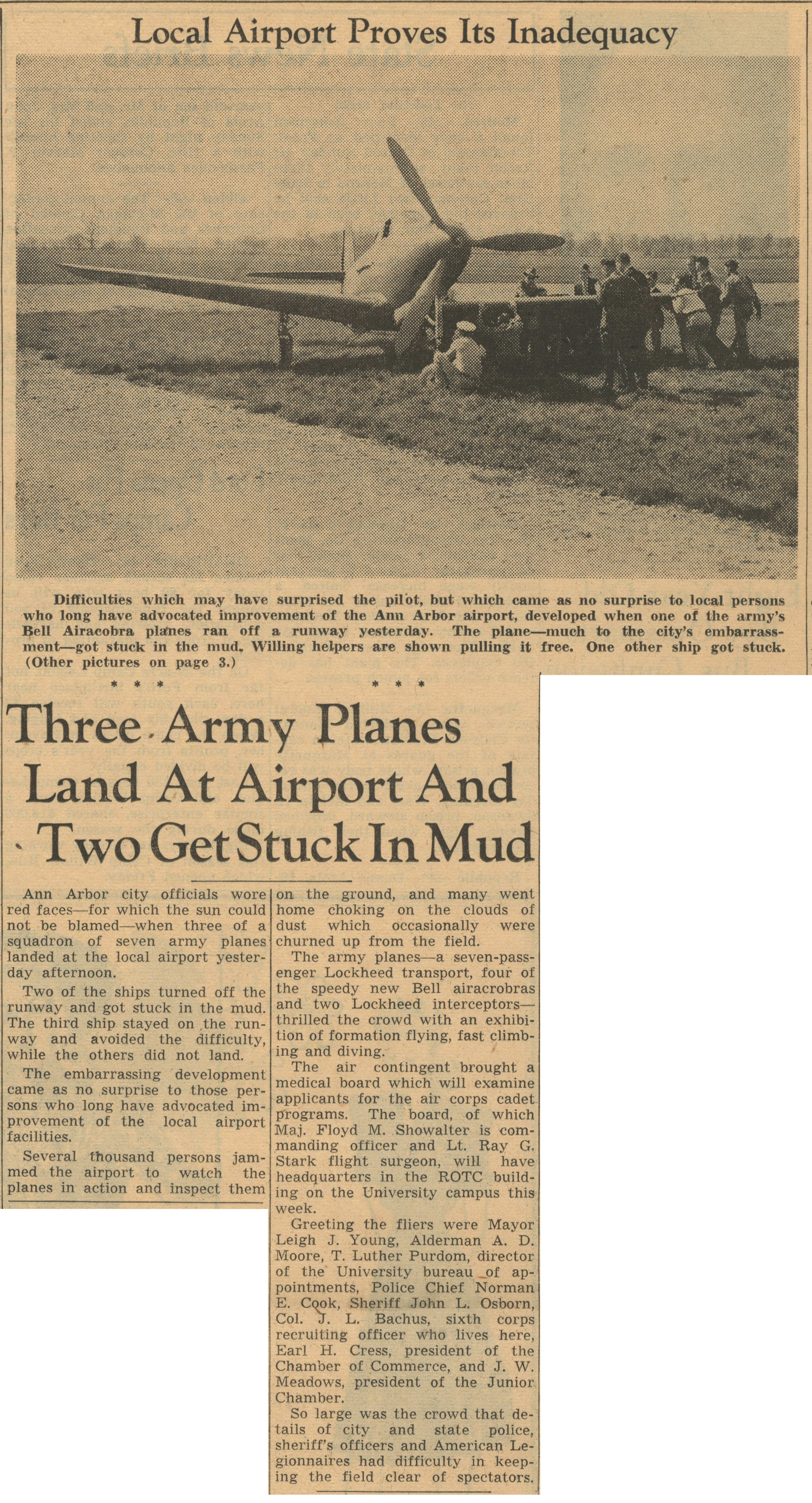 Local Airport Proves Its Inadequacy: Three Army Planes Land At Airport And Two Get Stuck In Mud image