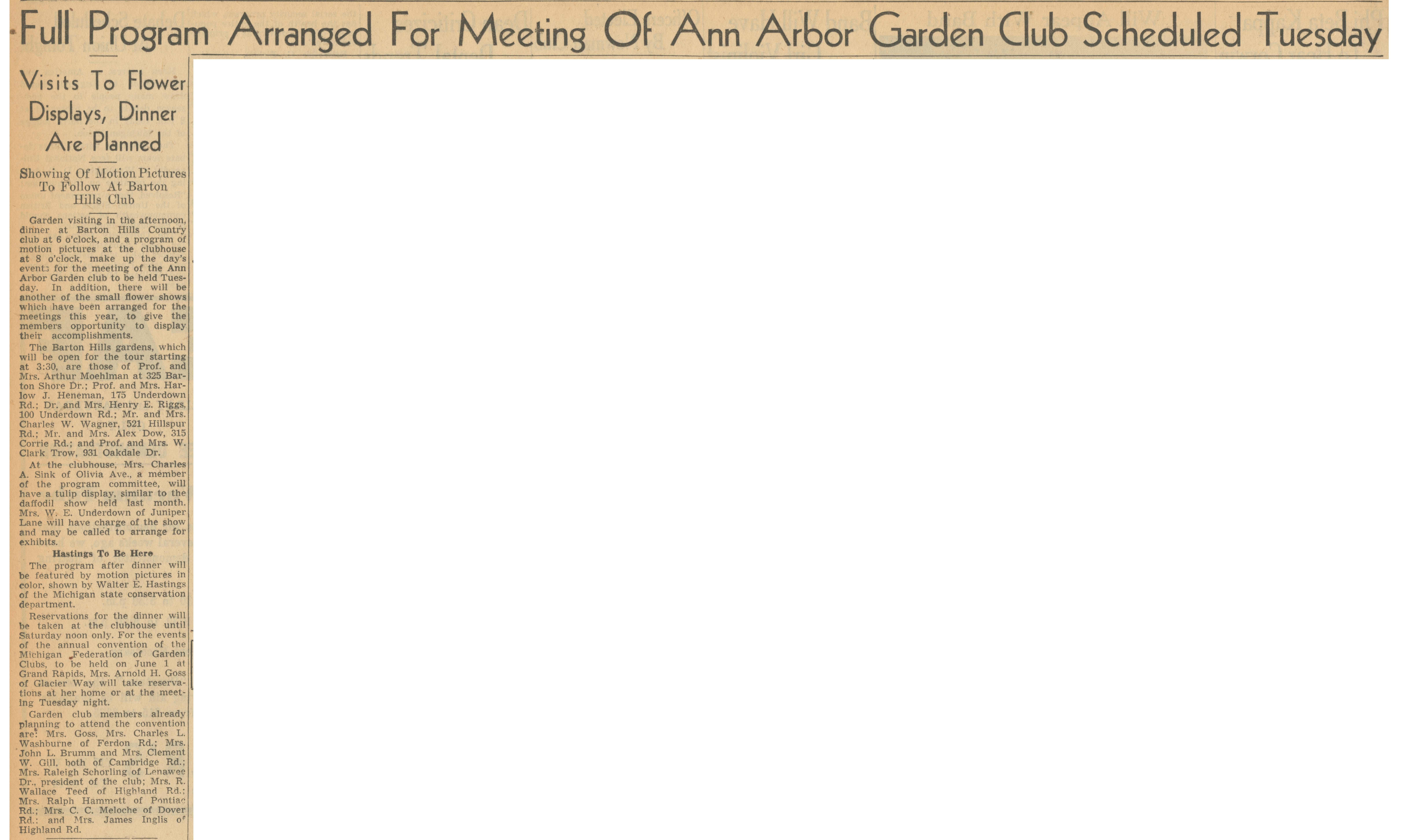 Full Program Arranged For Meeting Of Ann Arbor Garden Club Scheduled Tuesday image