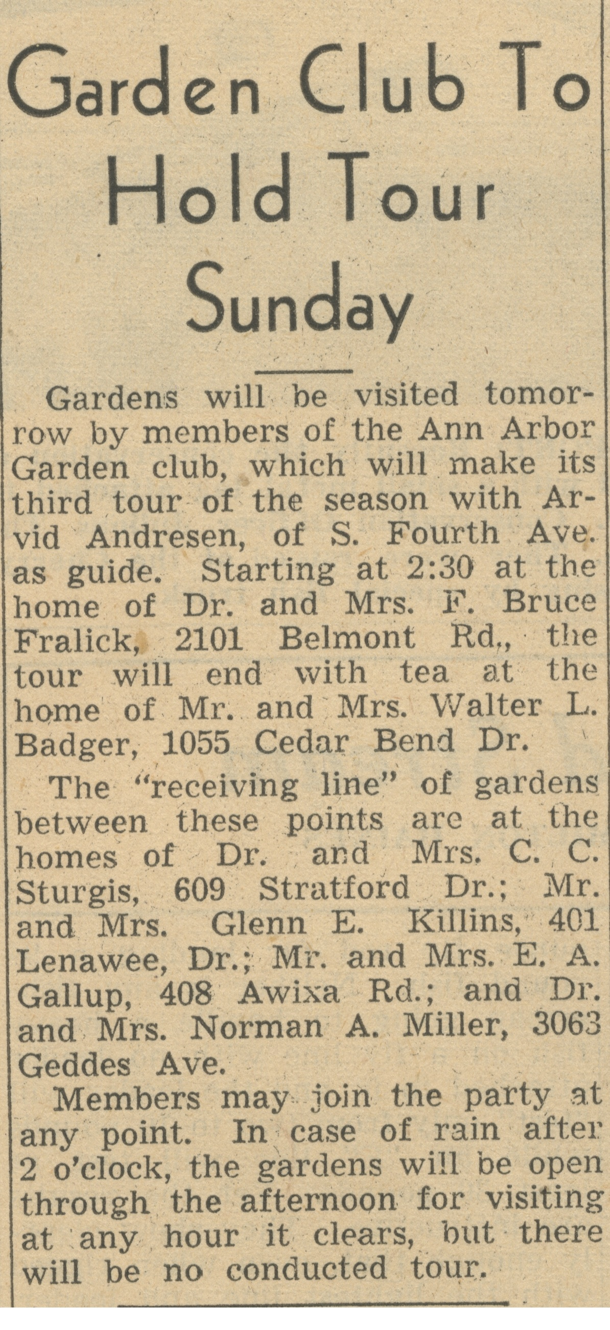 Garden Club To Hold Tour Sunday image