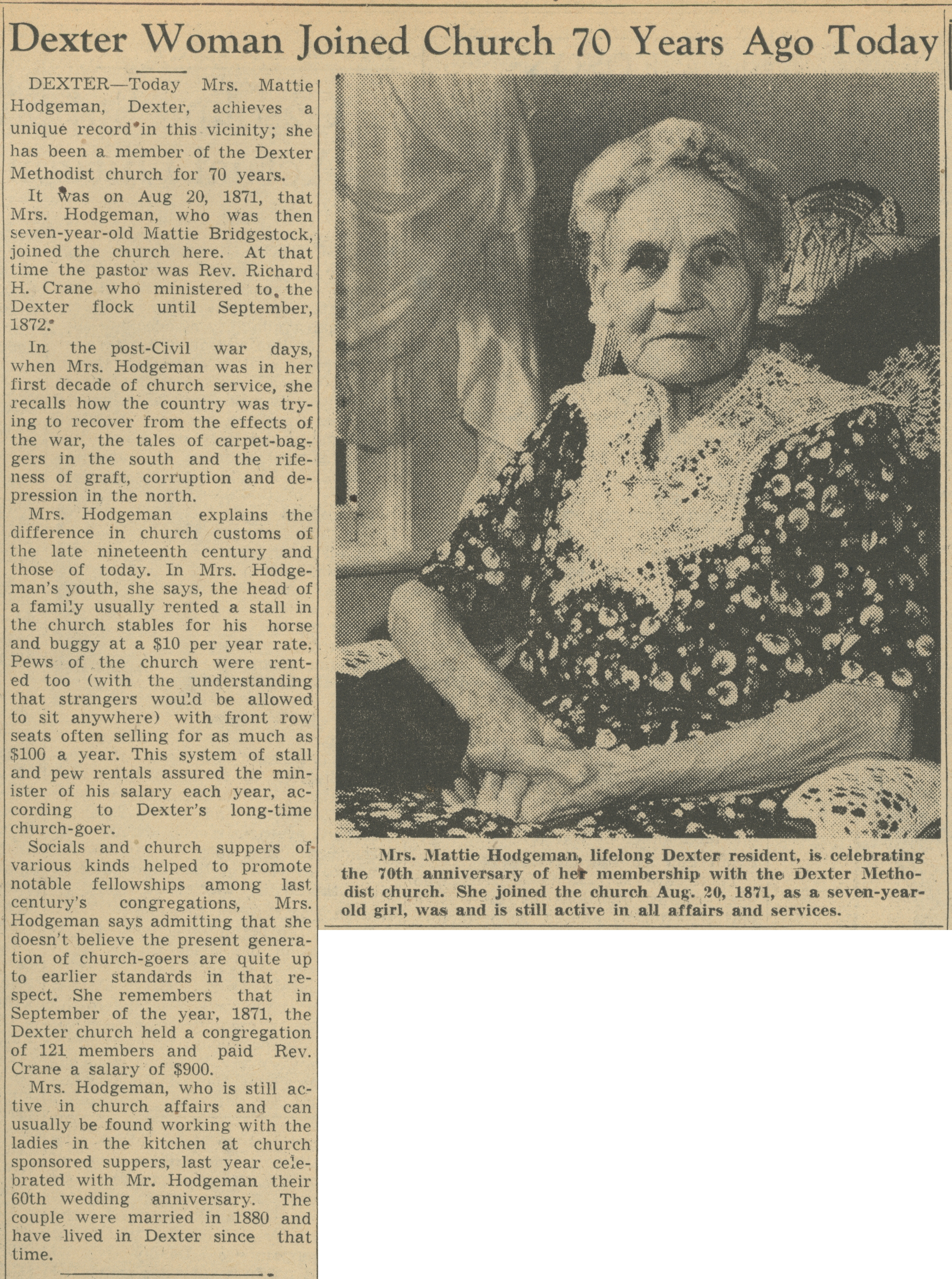 Dexter Woman Joined Church 70 Years Ago Today image