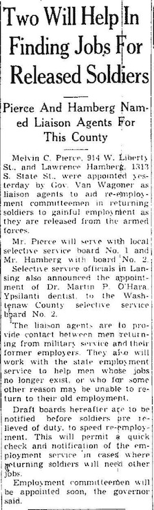 Two Will Help In Finding Jobs For Released Soldiers: Pierce and Hamberg Named Liaison Agents For This County image