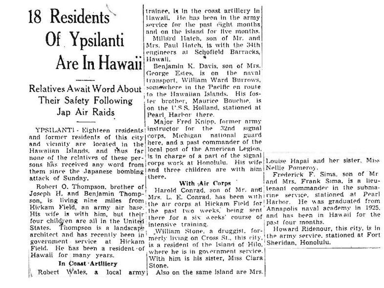18 Residents of Ypsilanti Are In Hawaii: Relatives Await Word About Their Safety Following Jap Air Raids image