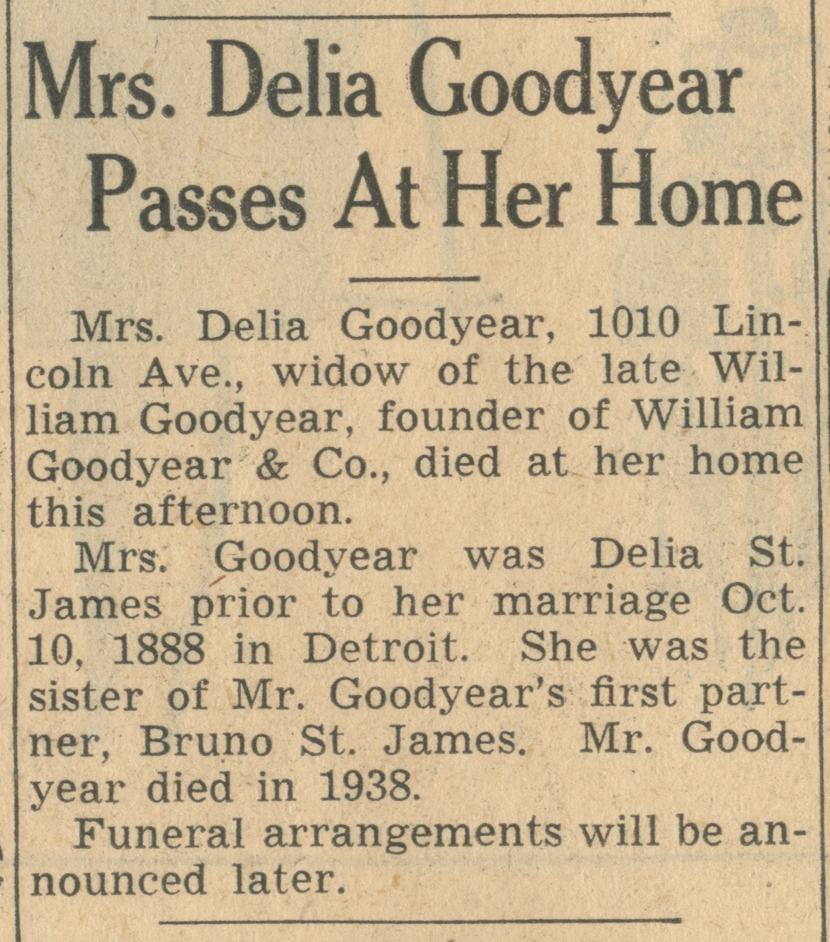 Mrs. Delia Goodyear Passes At Her Home image