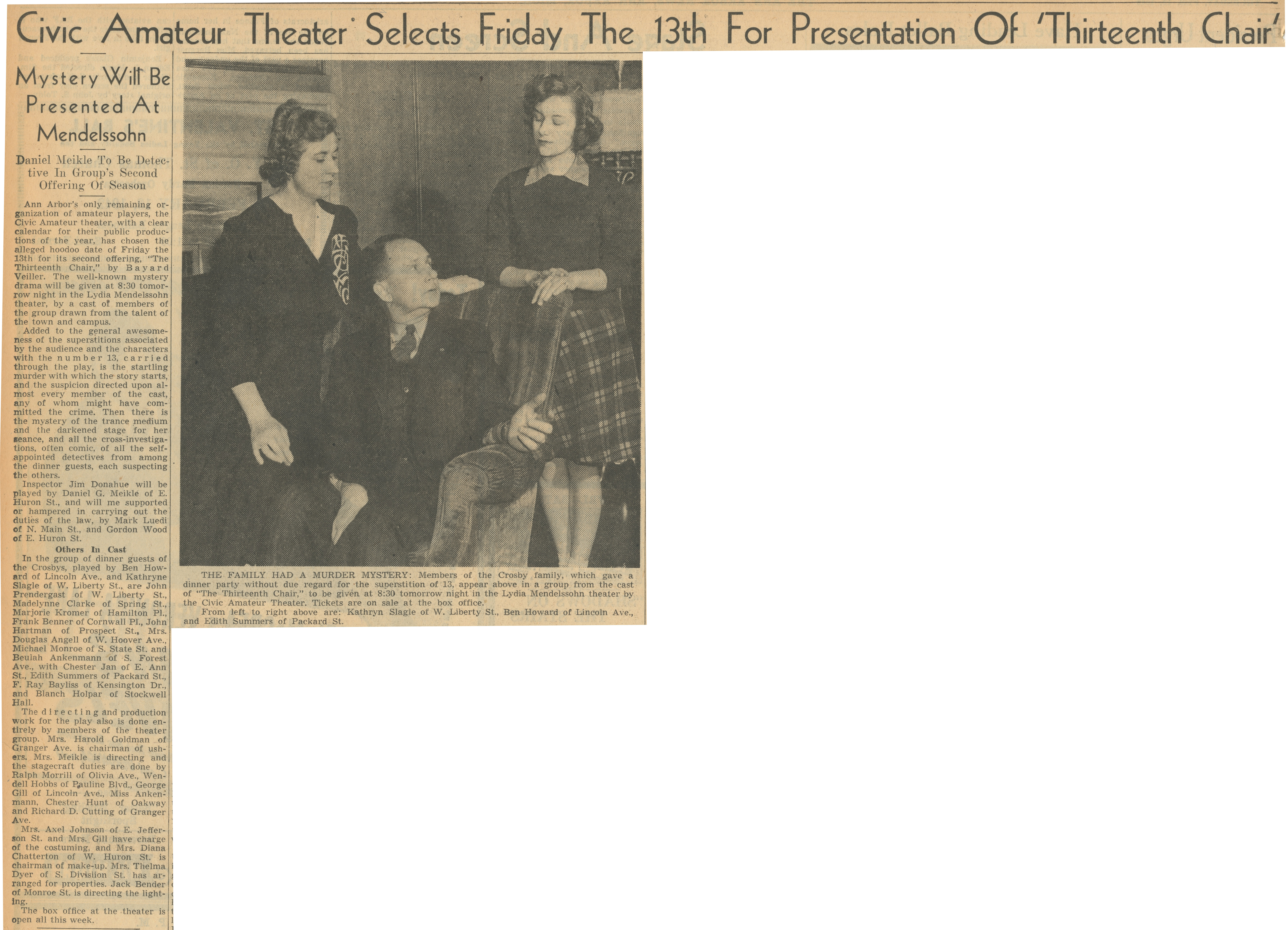Civic Amateur Theater Selects Friday The 13th For Presentation Of 'Thirteenth Chair' image