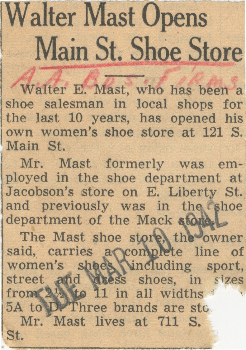 Walter Mast Opens Main St. Shoe Store image