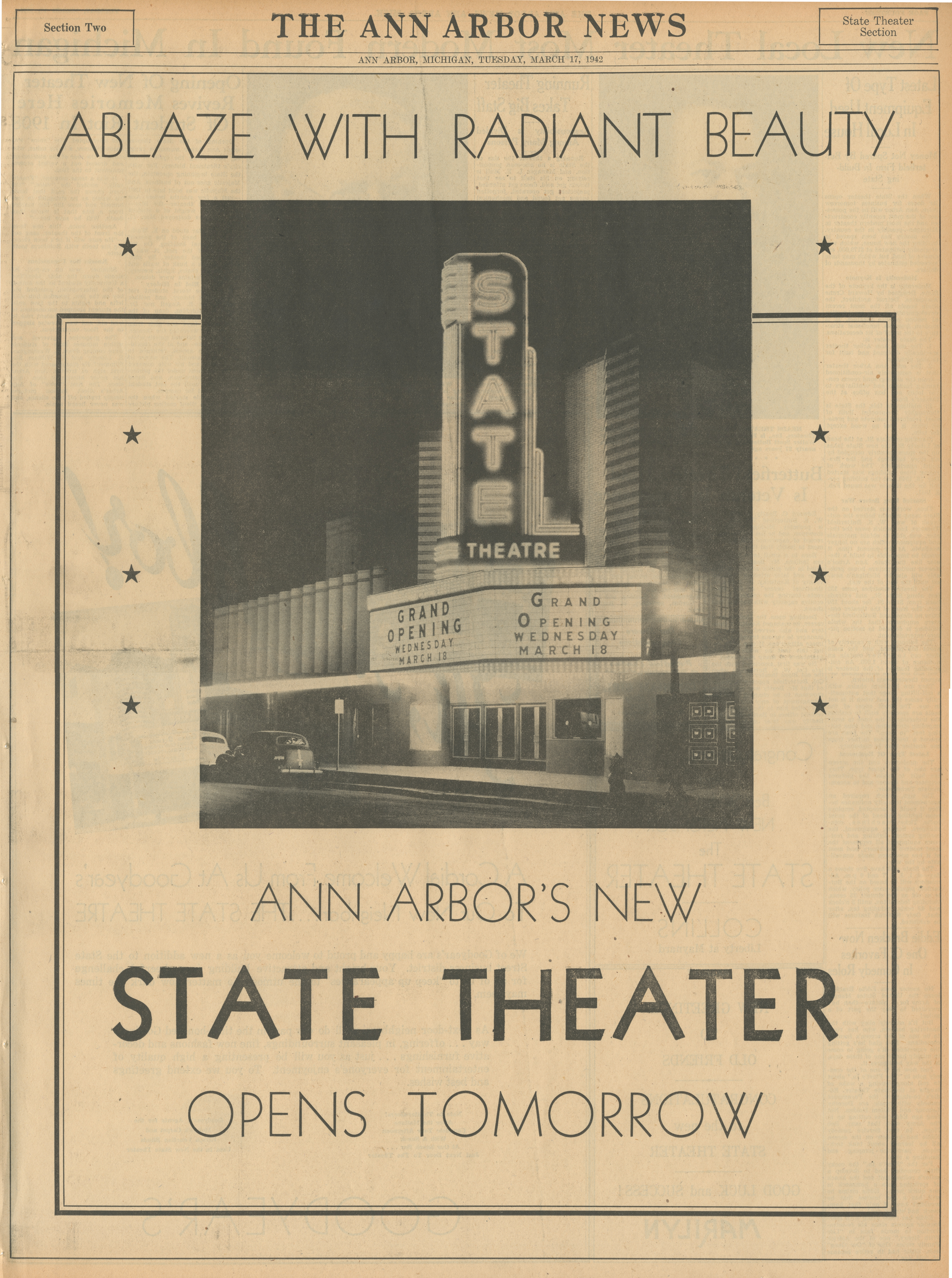 Ablaze With Radiant Beauty - Ann Arbor's New State Theater Opens Tomorrow image