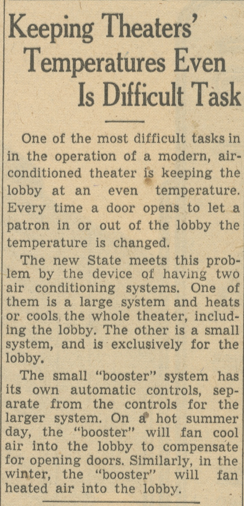 Keeping Theaters' Temperatures Even Is Difficult Task image