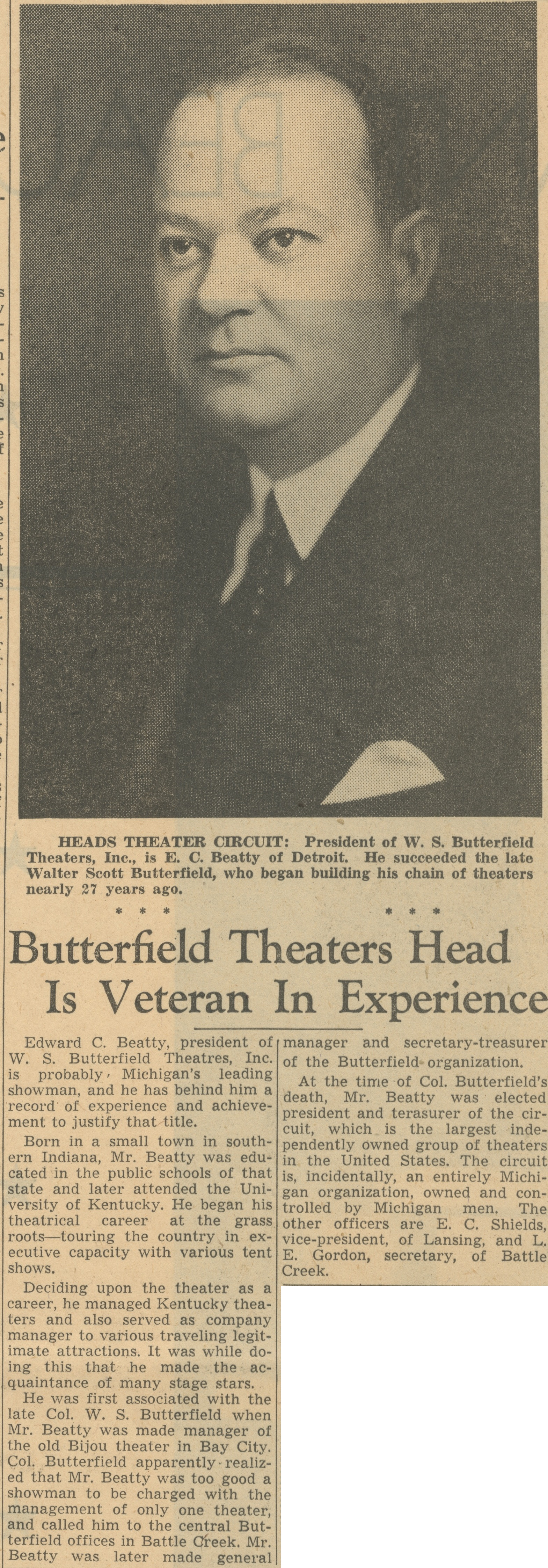 Butterfield Theaters Head Is Veteran In Experience image