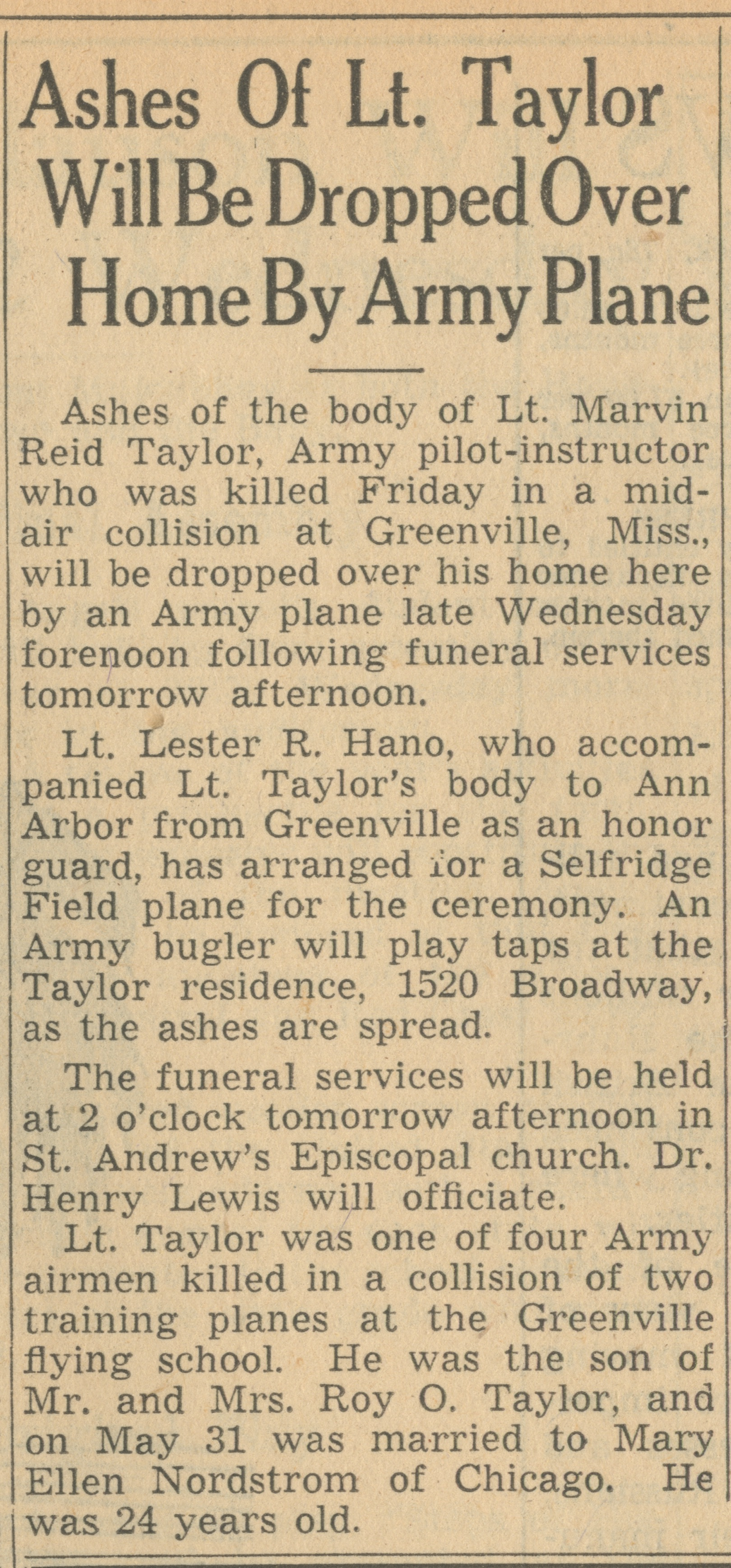 Ashes Of Lt. Taylor Will Be Dropped Over Home By Army Plane image