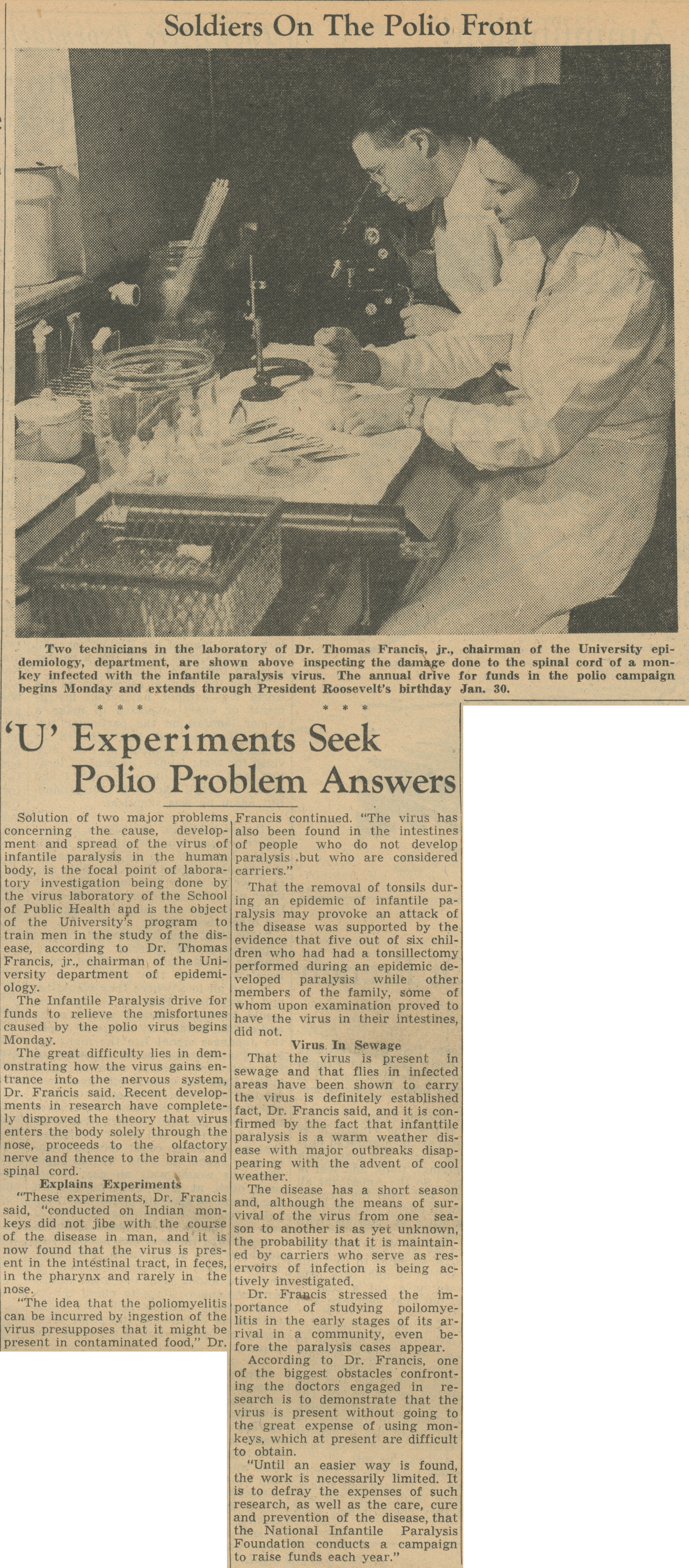 Soldiers On The Polio Front - 'U' Experiments Seek Polio Problem Answers image