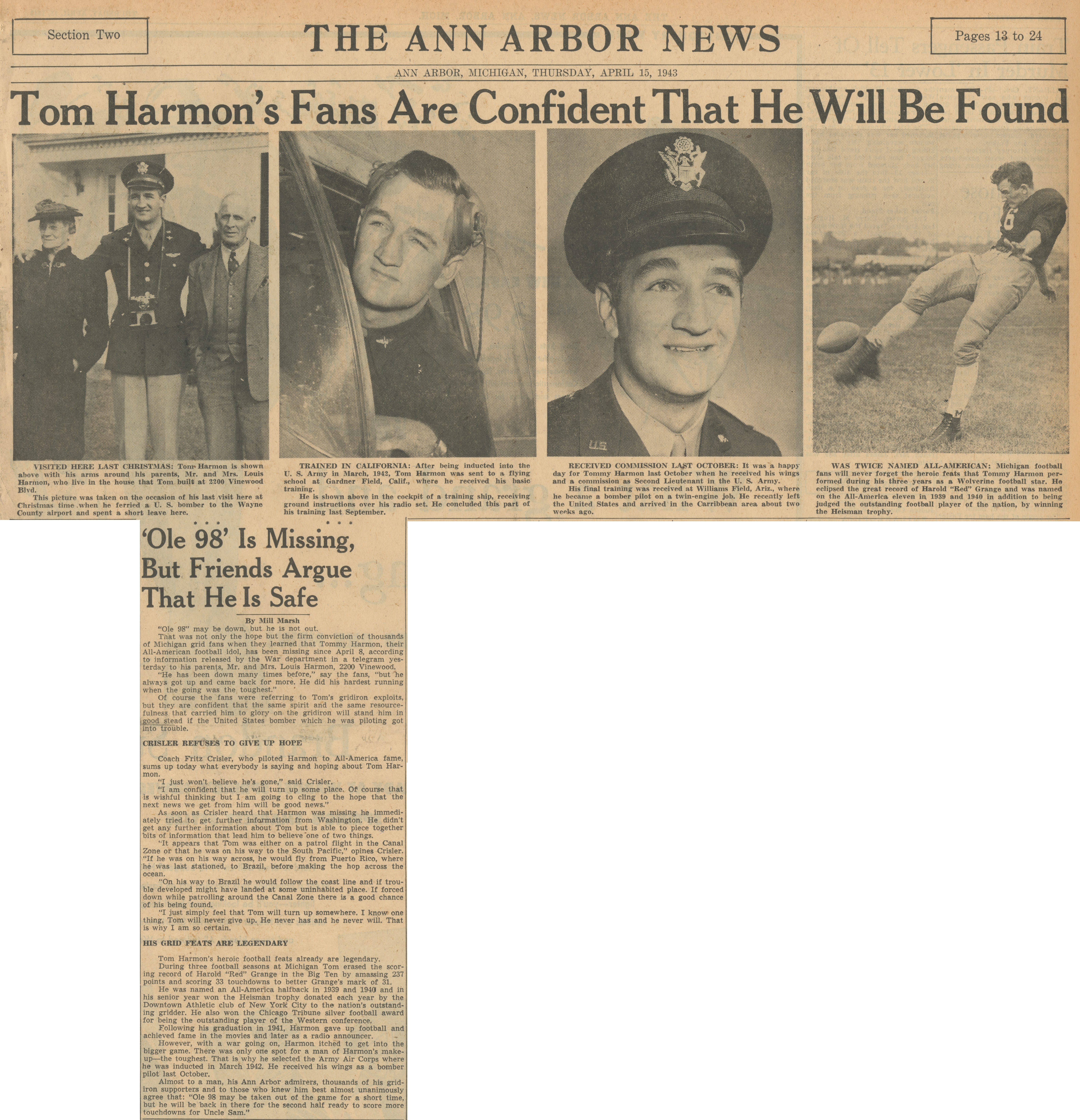 "Tom Harmon's Fans Are Confident That He Will Be Found - ""Ole 98"" Is Missing, But Friends Argue That He Is Safe image"