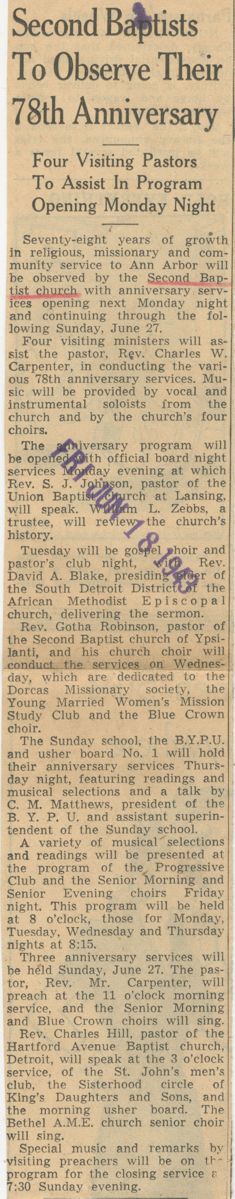 Second Baptists To Observe Their 78th Anniversary image
