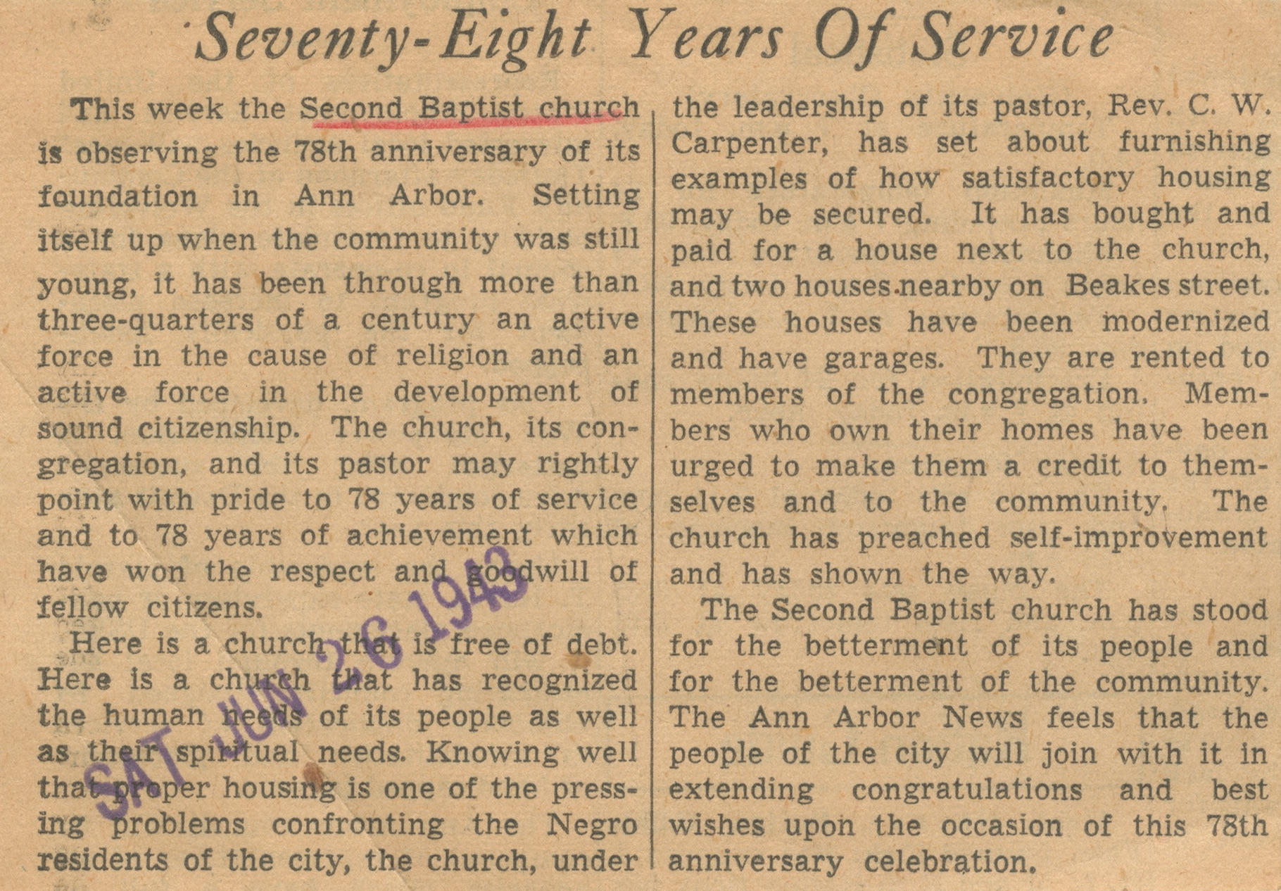 Seventy-Eight Years Of Service image
