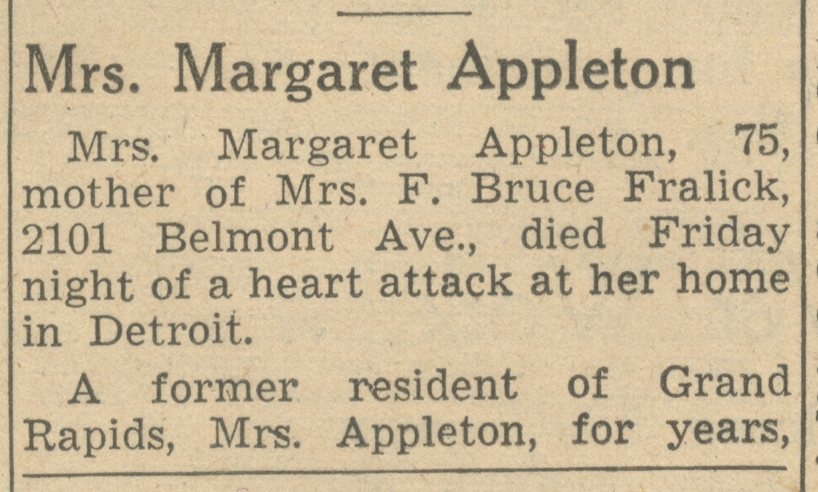 Mrs. Margaret Appleton image