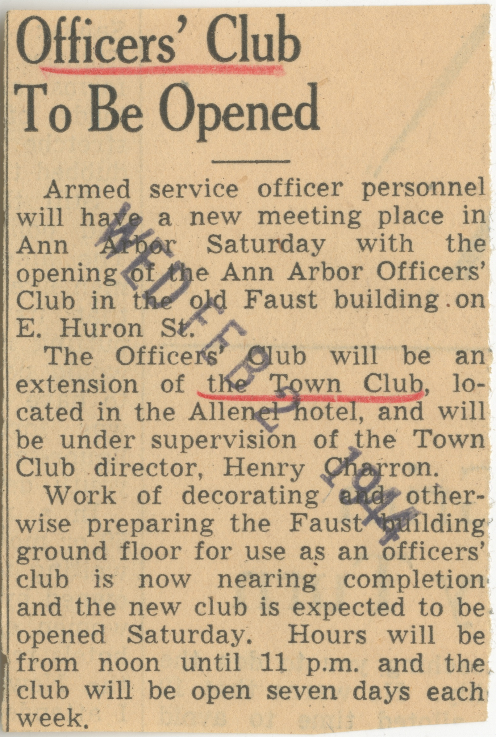 Officers' Club To Be Opened image