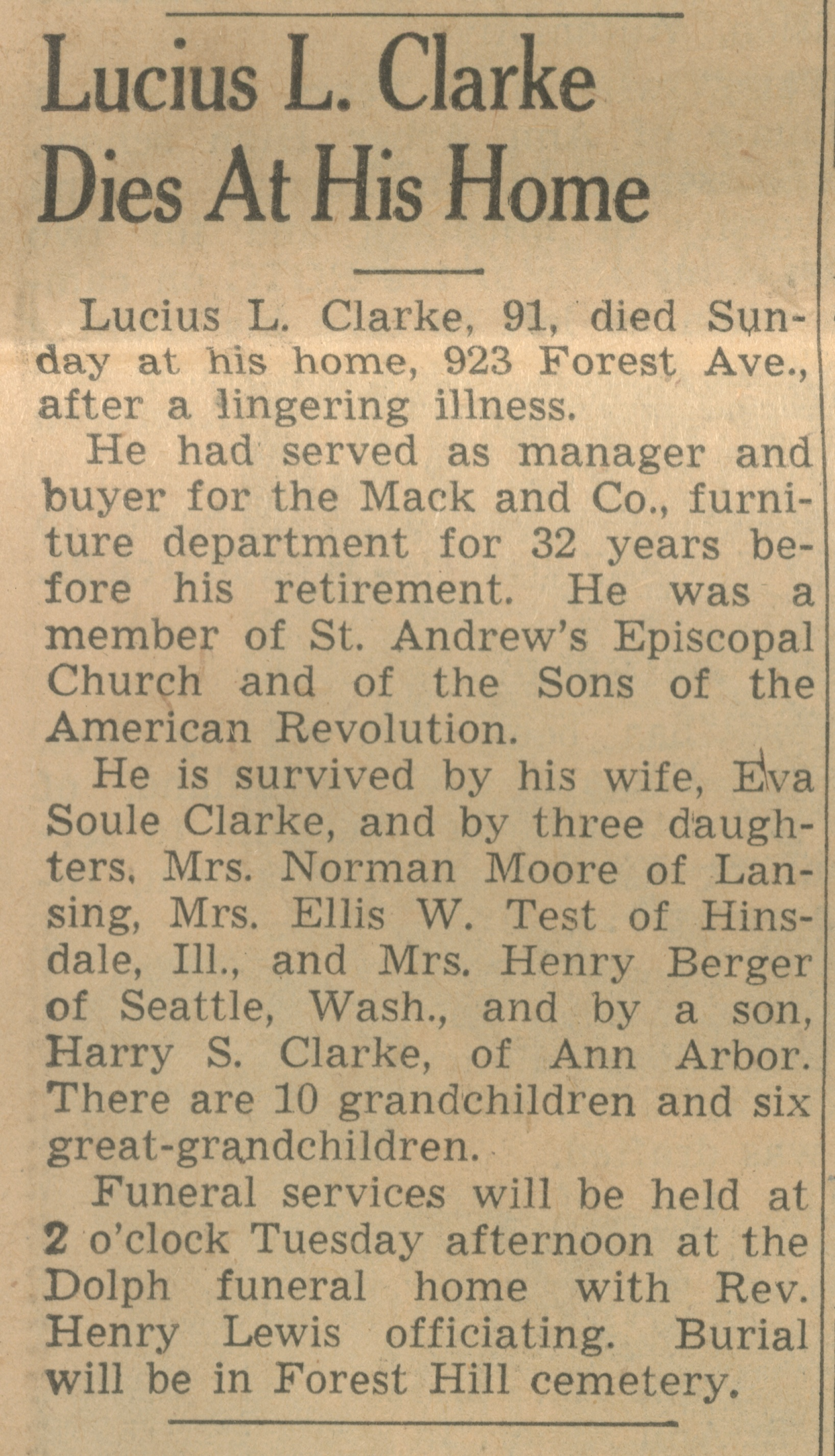 Lucius L. Clarke Dies At His Home image