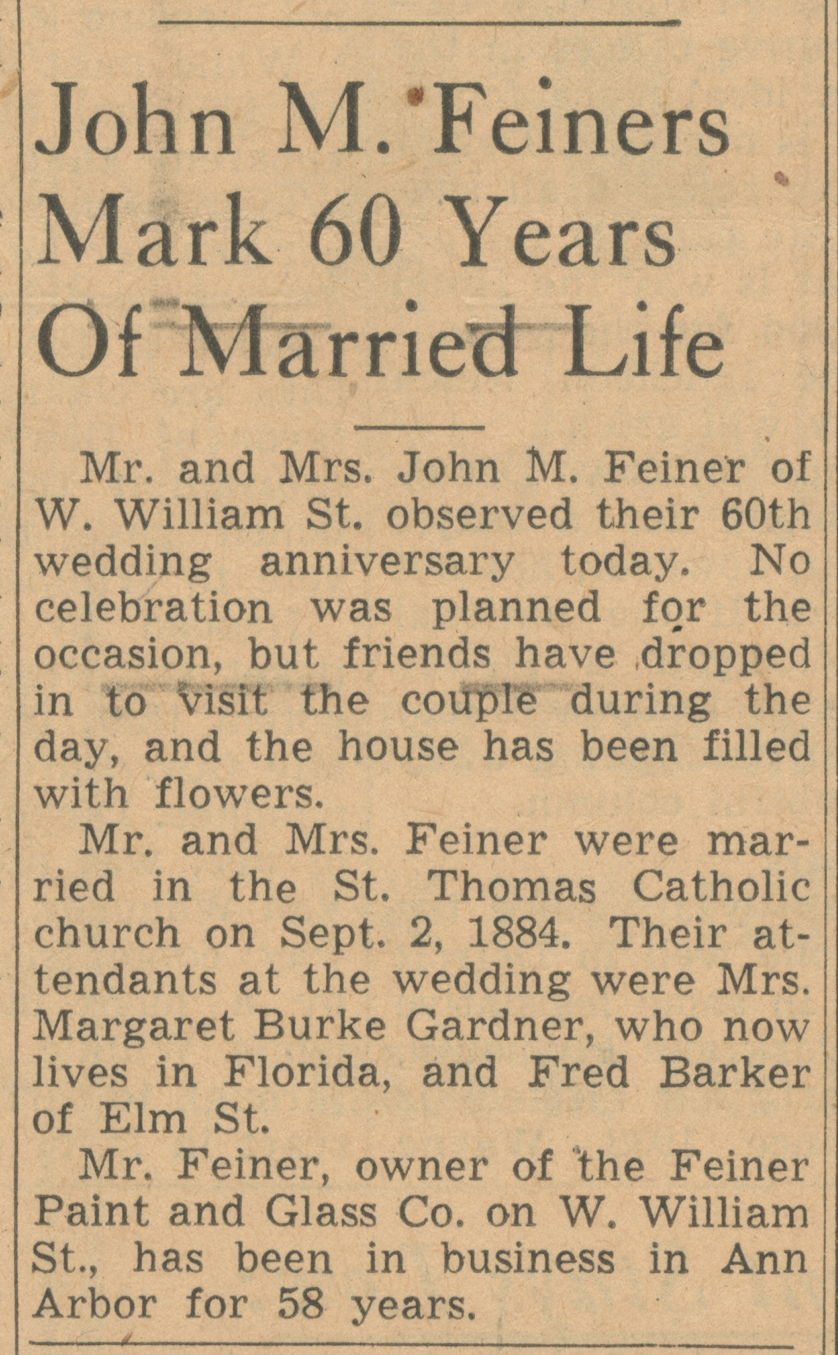John M. Feiners Mark 60 Years Of Married Life image