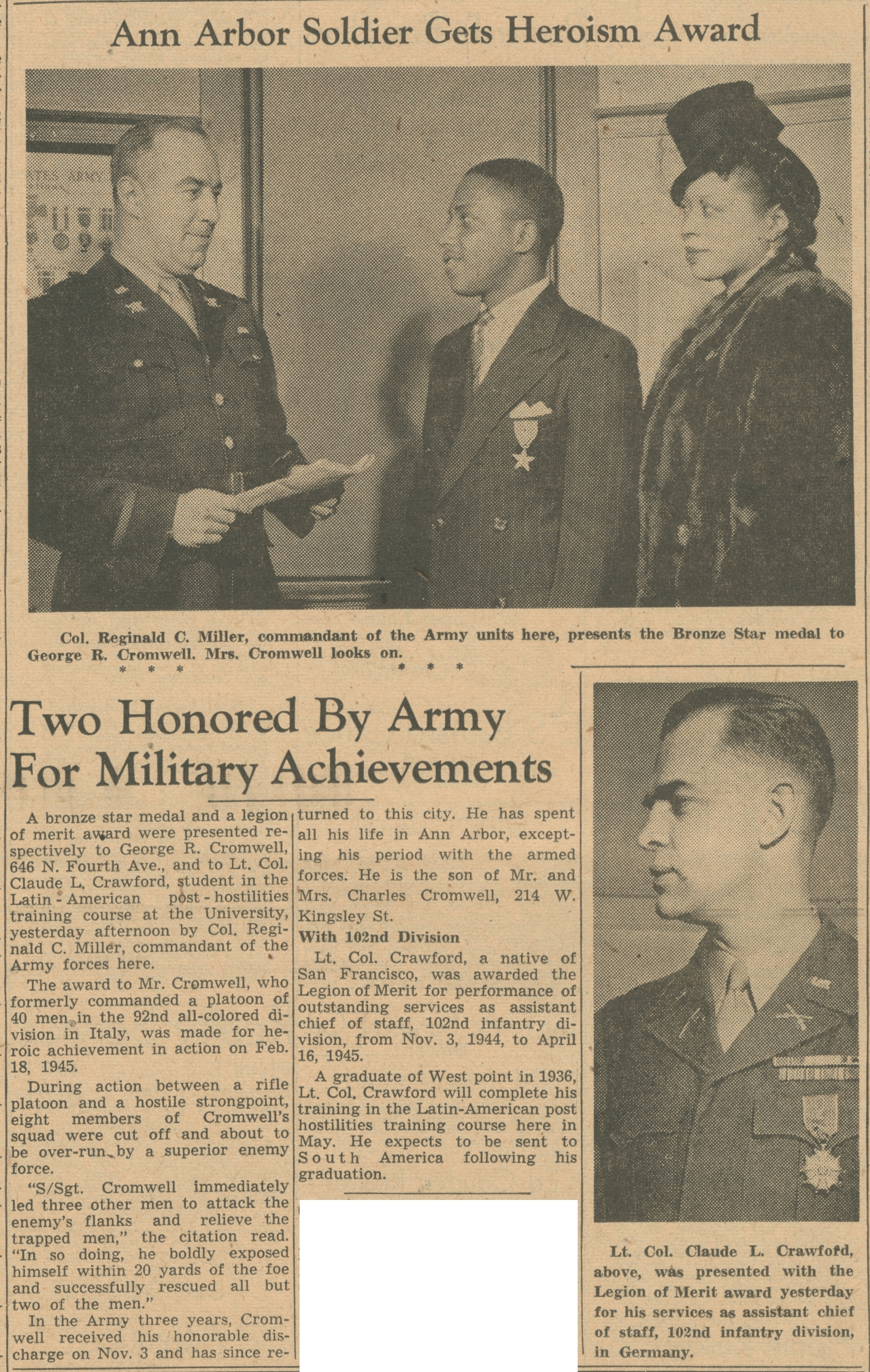 Two Honored By Army For Military Achievements image