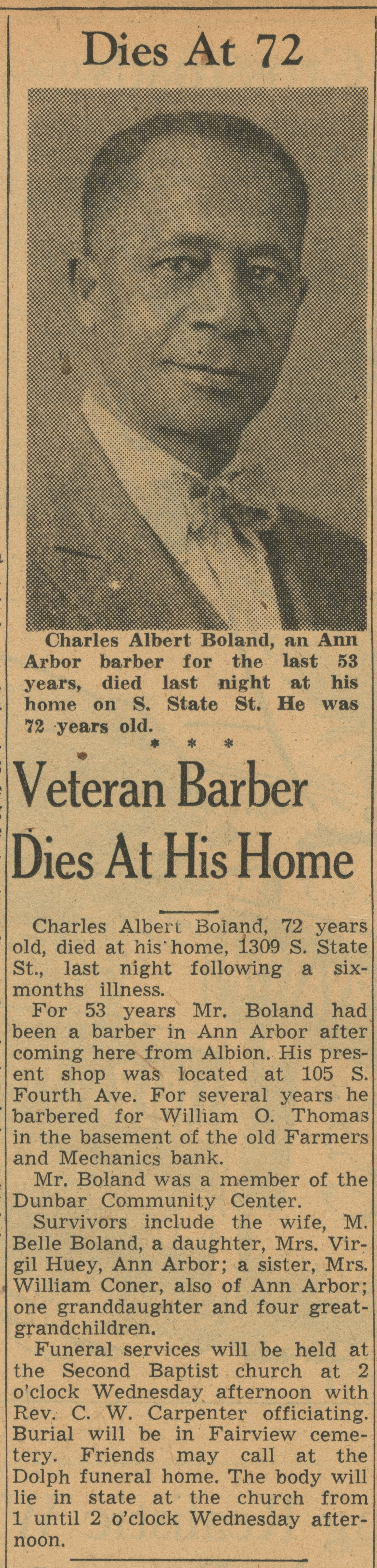 Veteran Barber Dies At His Home image