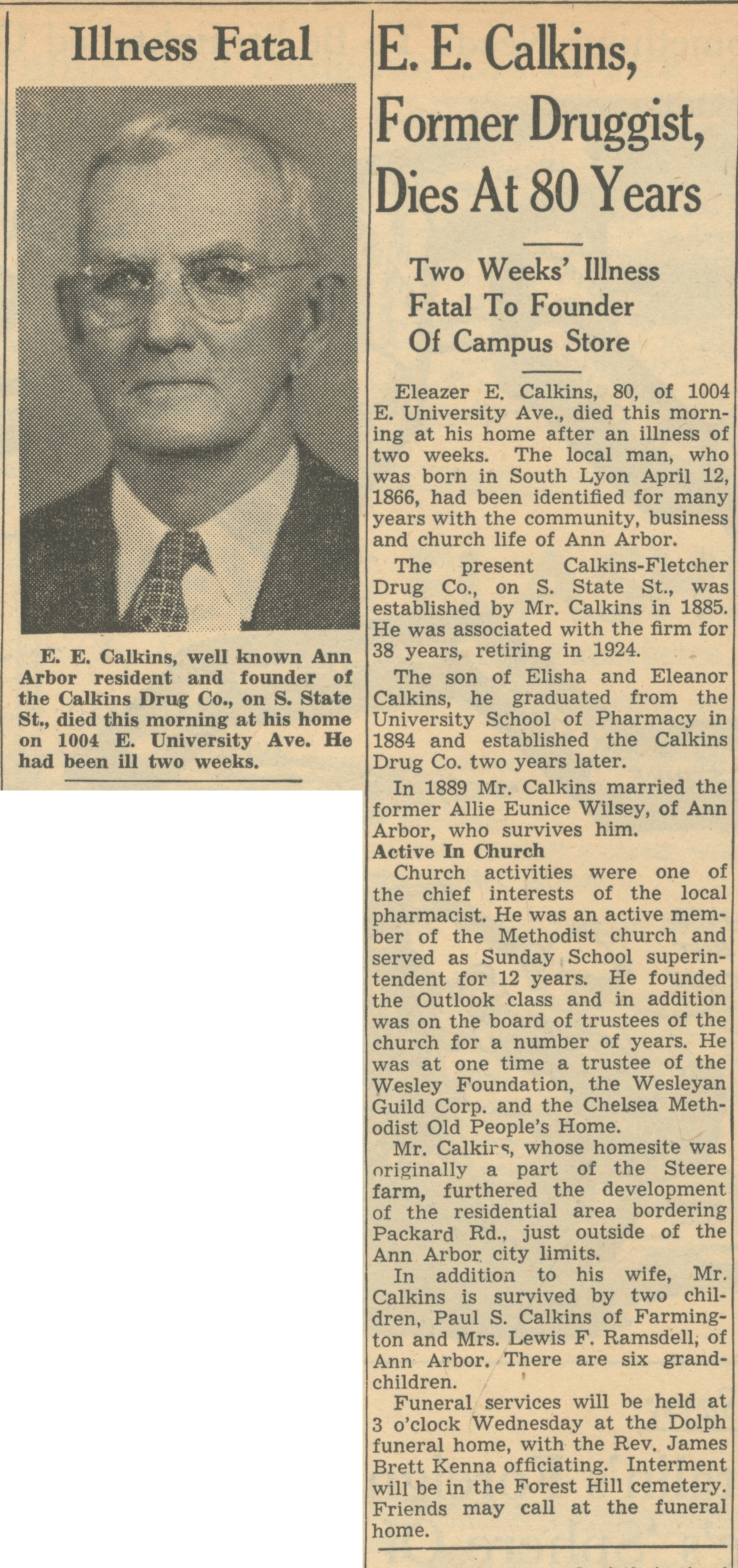 E. E. Calkins, Former Druggist, Dies At 80 Years image