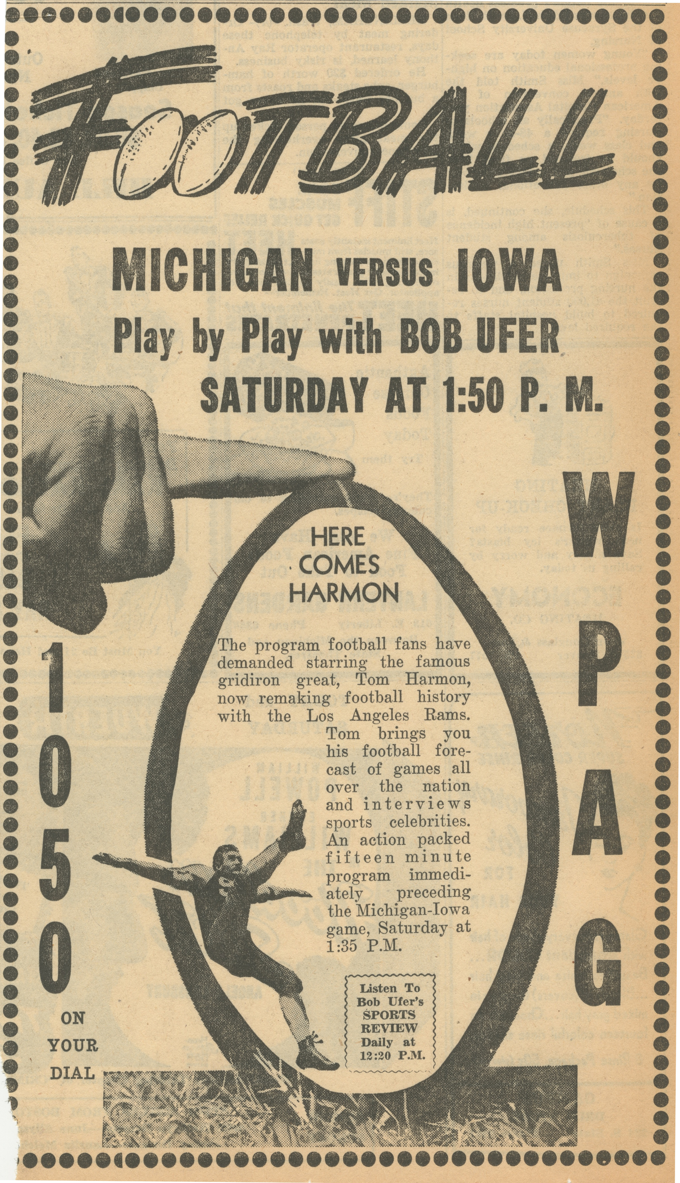 Football Michigan versus Iowa Play by Play With Bob Ufer image