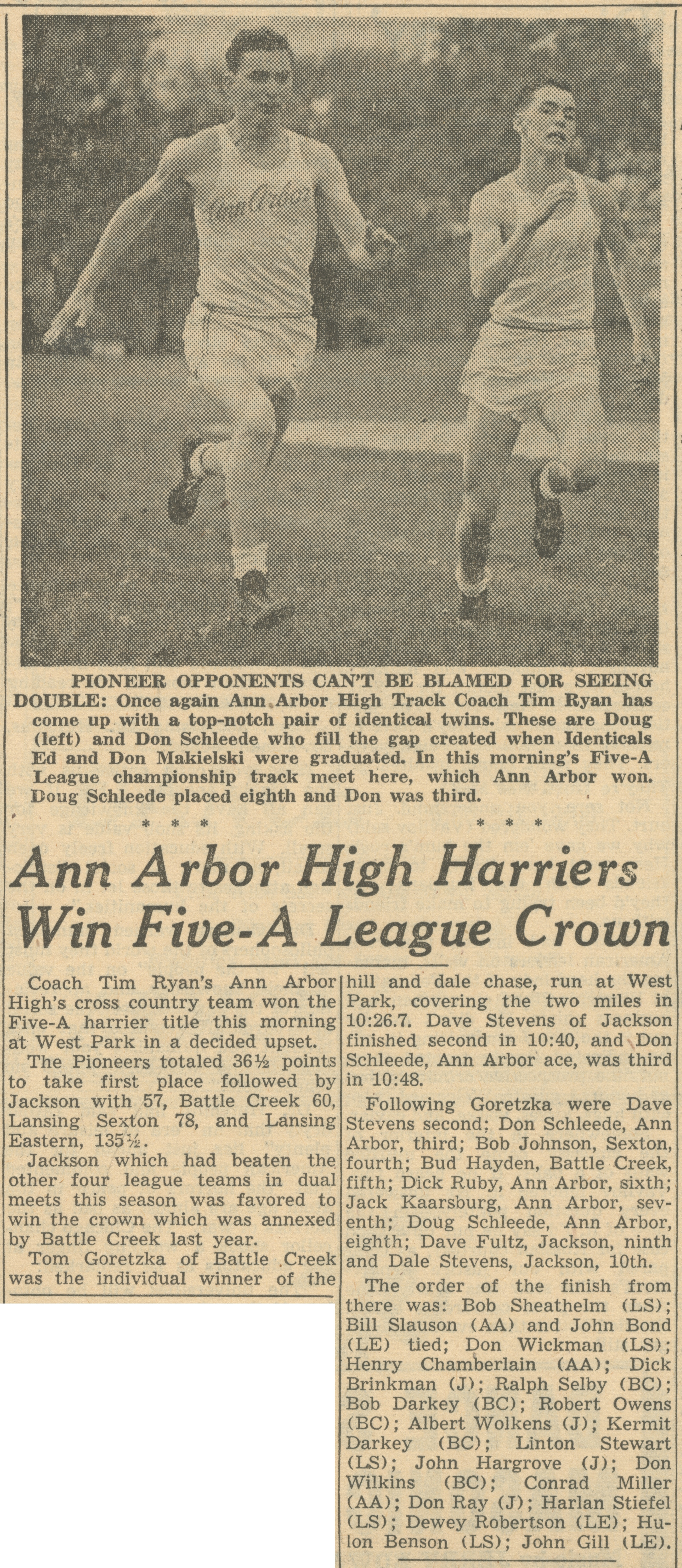 Ann Arbor High Harriers Win Five-A League Crown image