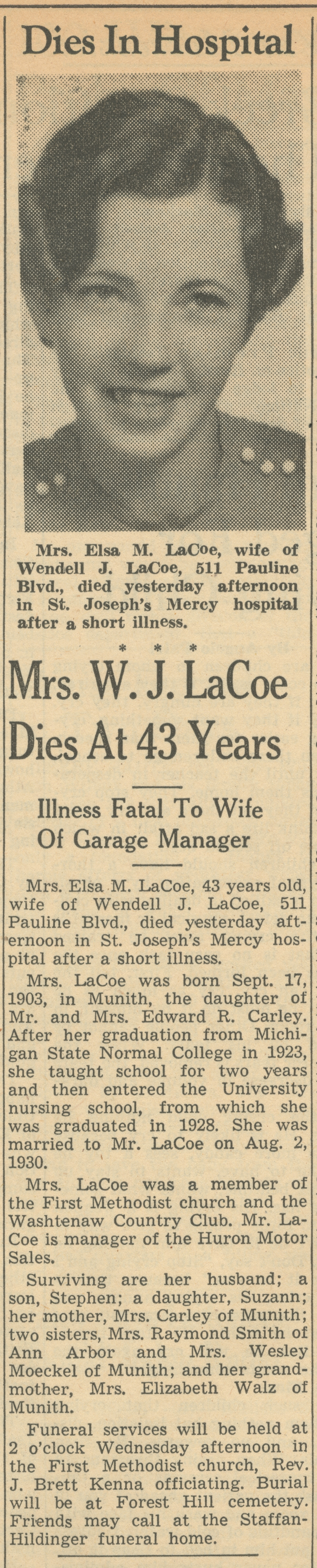 Mrs. W. J. LaCoe Dies At 43 Years image