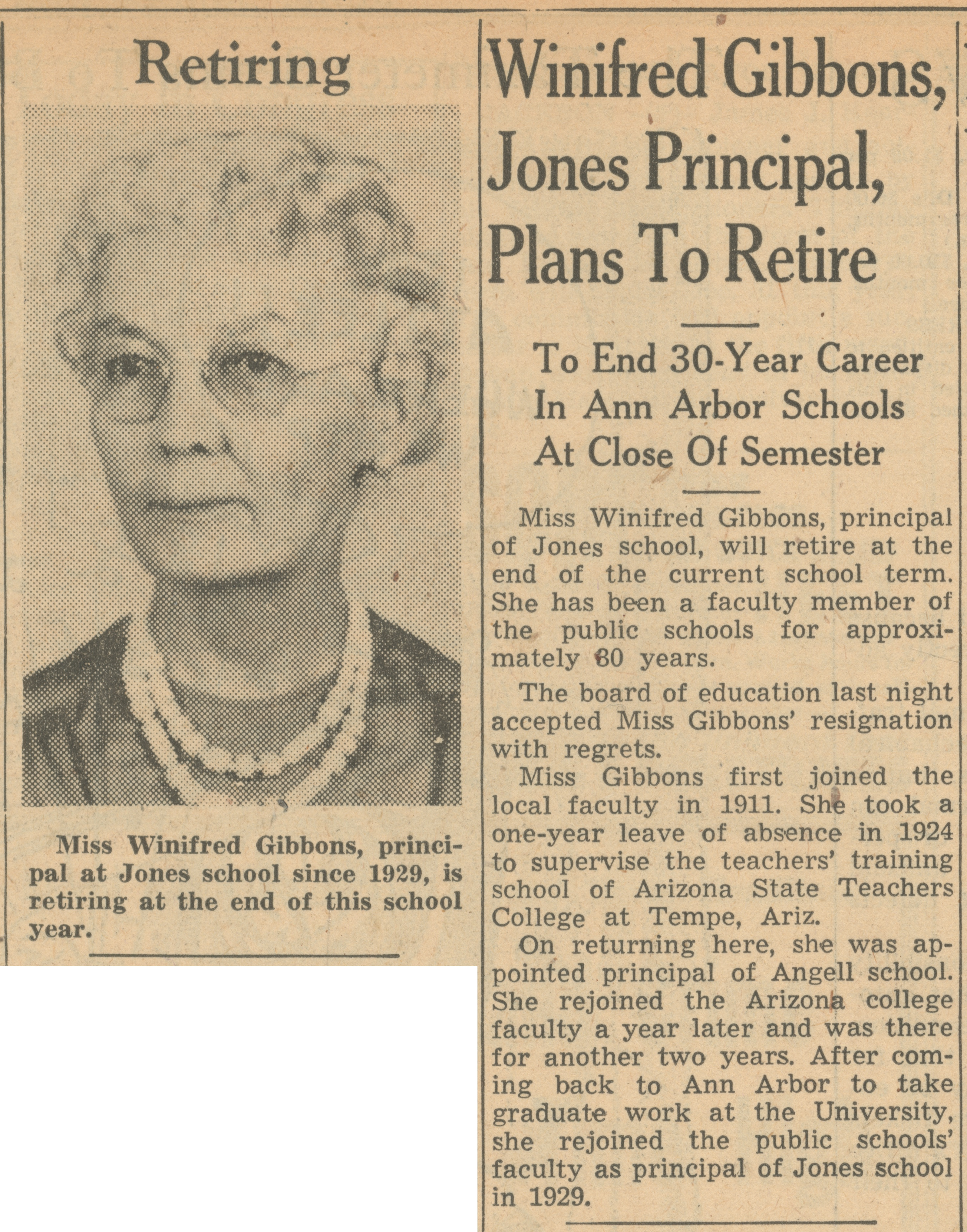 Winifred Gibbons, Jones Principal, Plans To Retire image