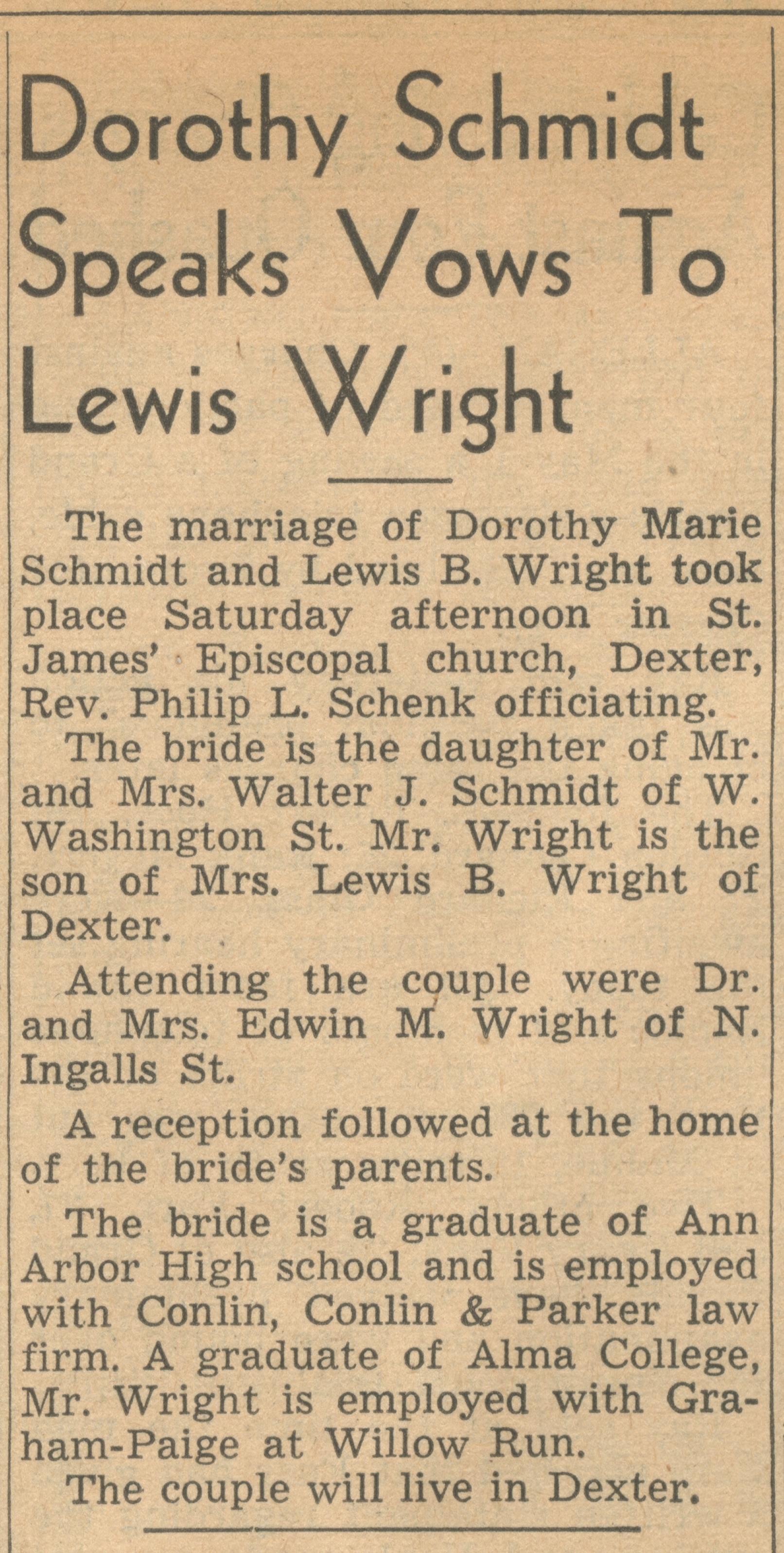Dorothy Schmidt Speaks Vows To Lewis Wright image