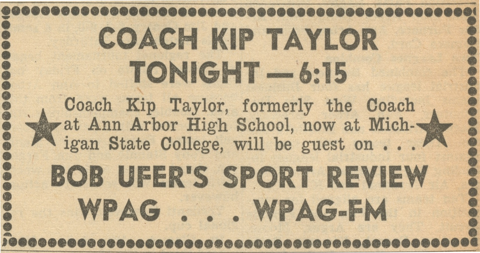 Coach Kip Taylor Tonight -- 6:15 image