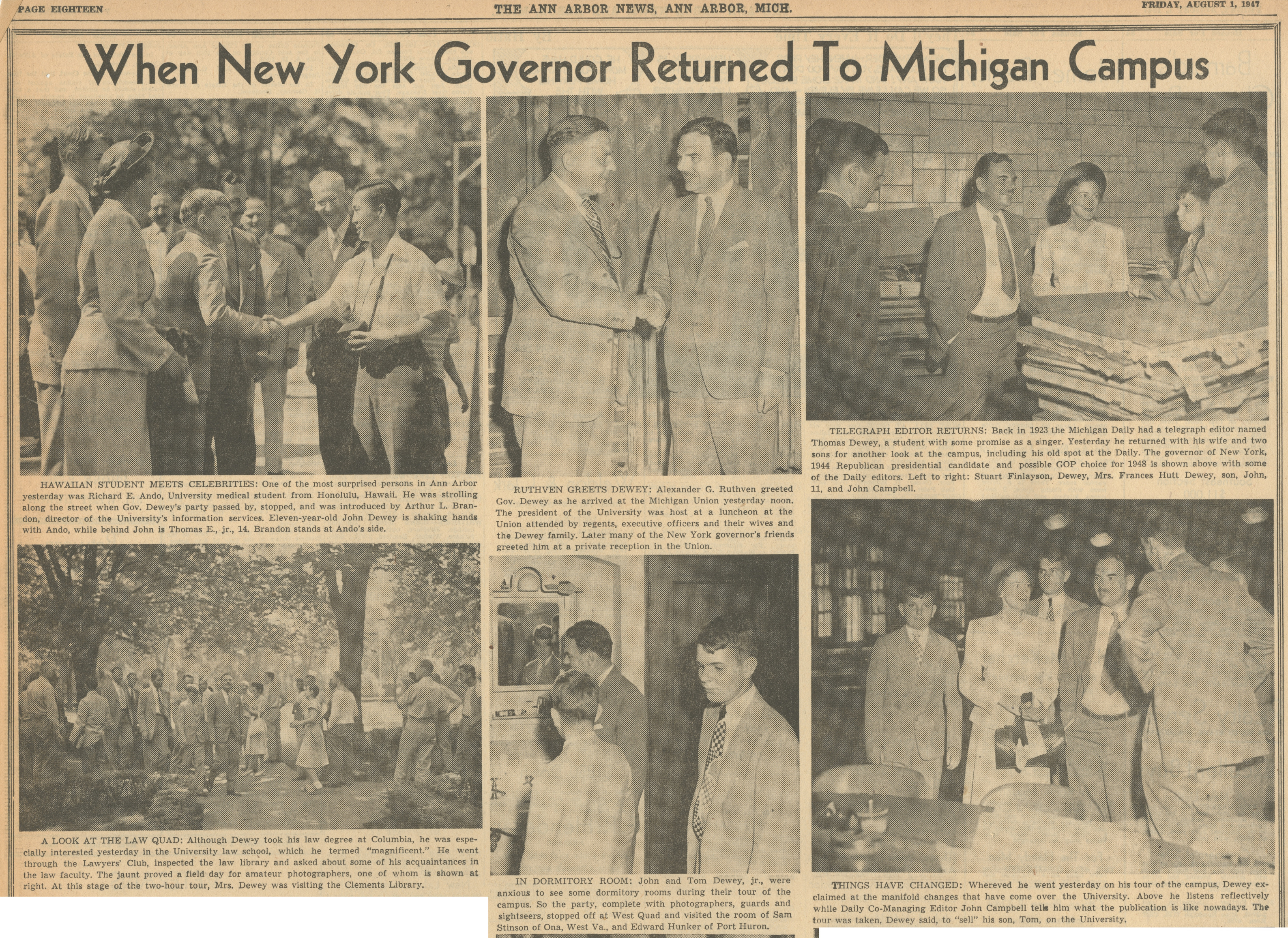 When New York Governor Returned To Michigan Campus image