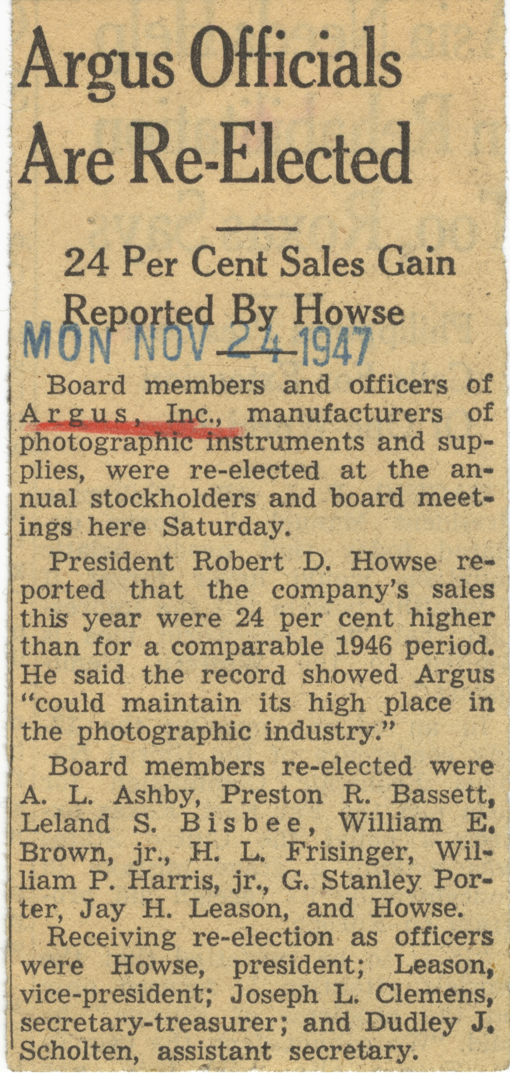 Argus Officials Are Re-Elected image