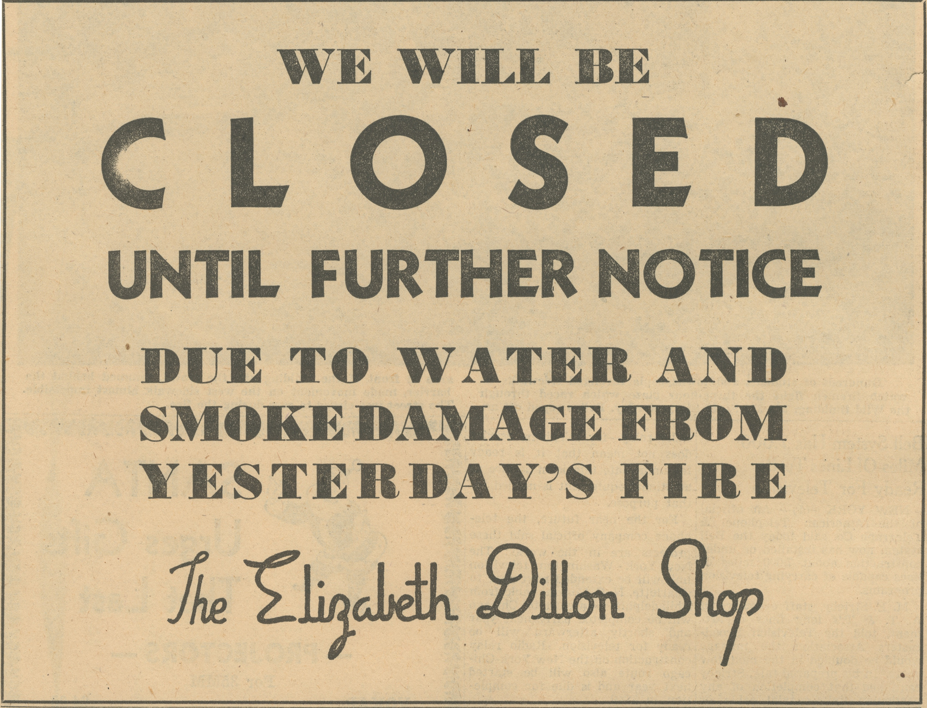 We Will Be Closed - Elizabeth Dillon Shop image