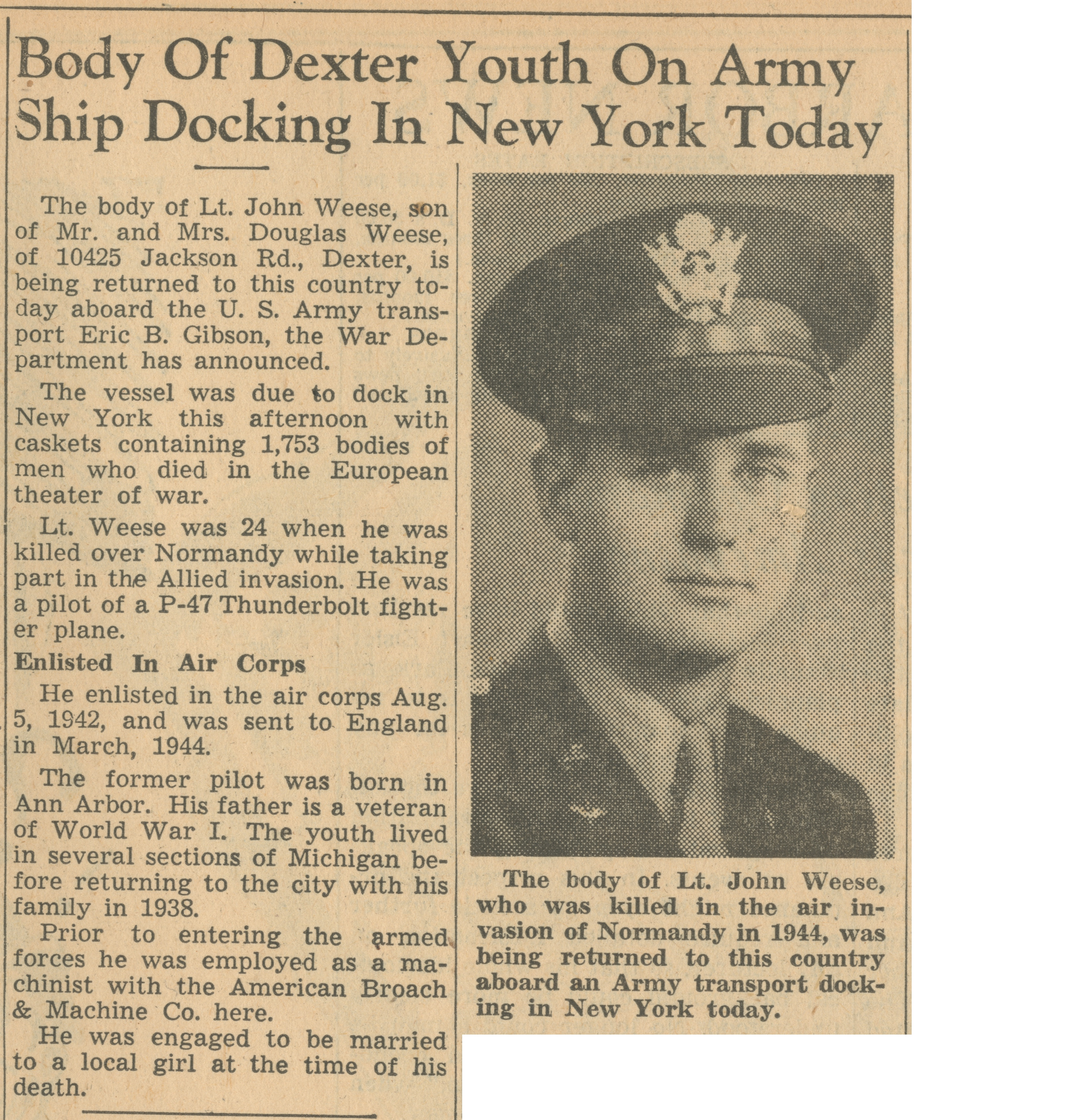 Body Of Dexter Youth On Army Ship Docking In New York Today image