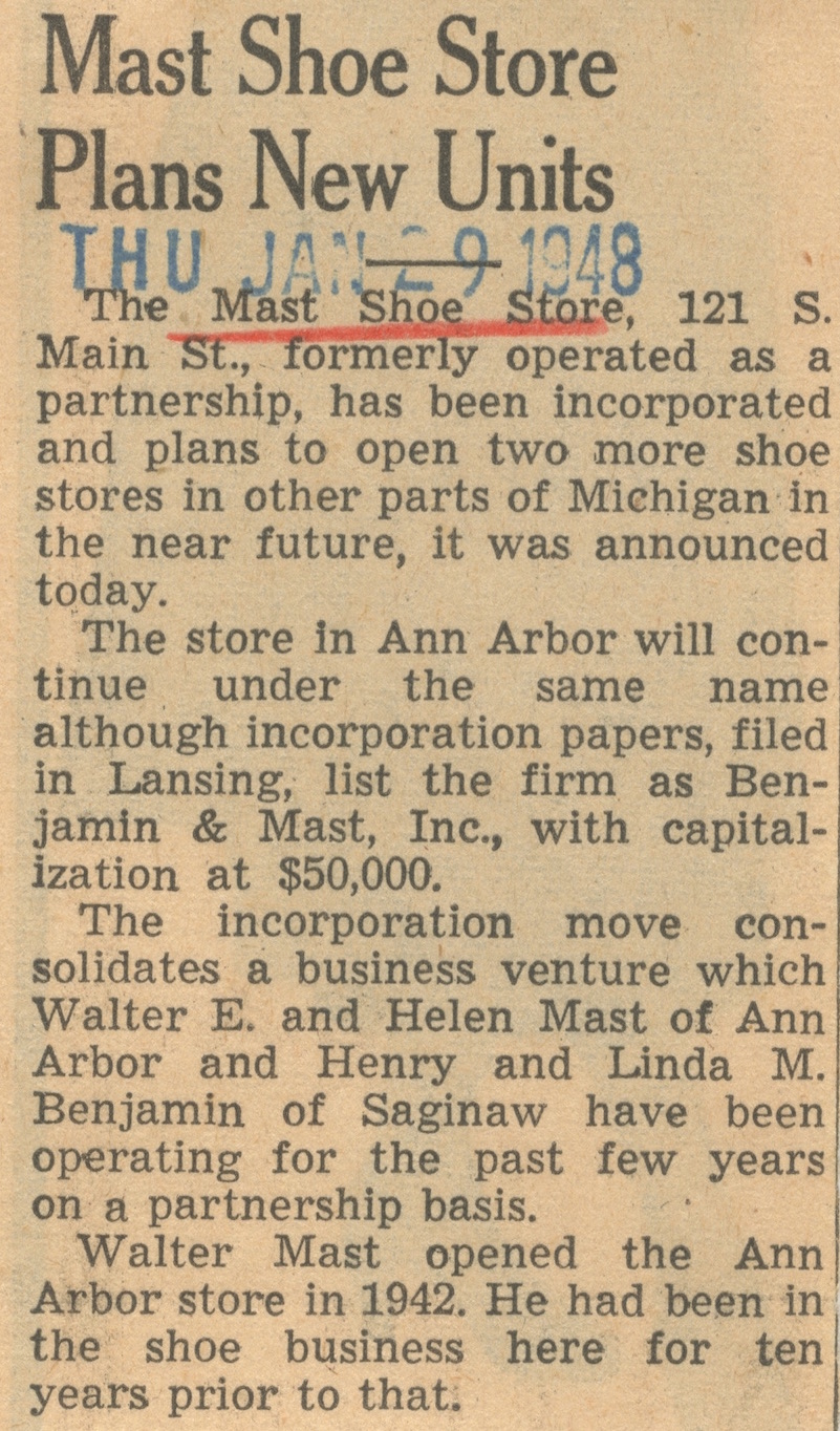 Mast Shoe Store Plans New Units image