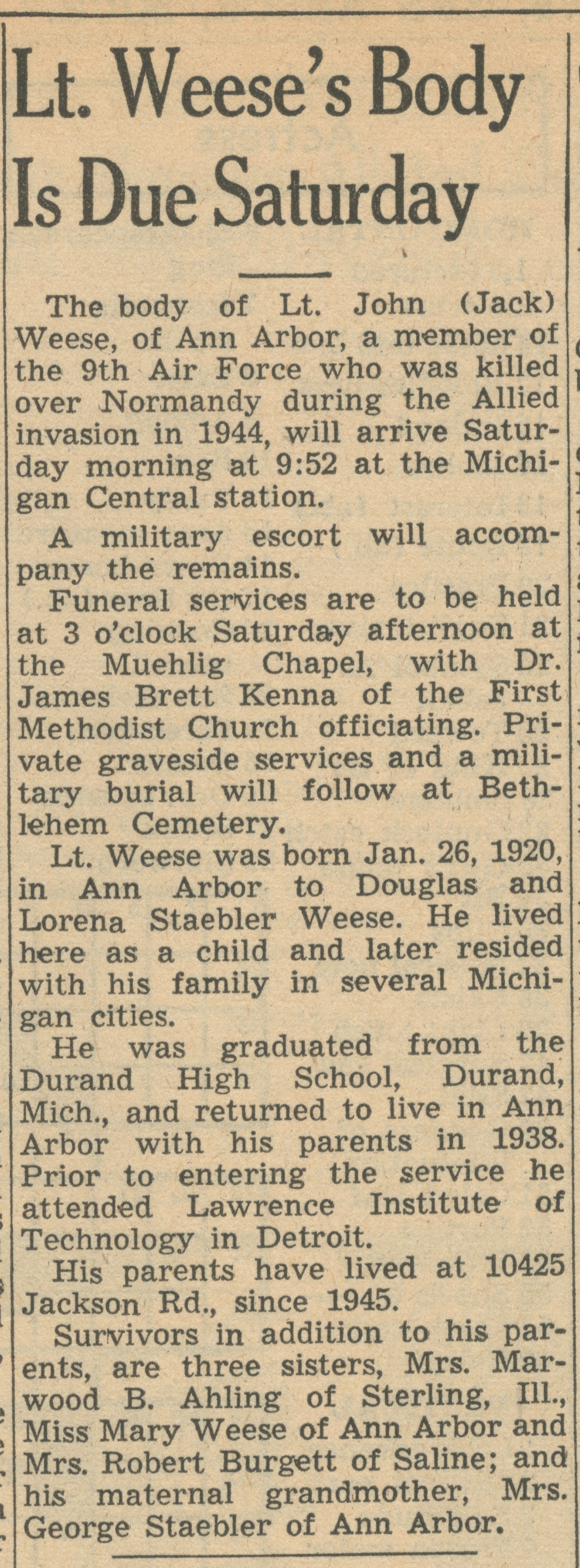Lt. Weese's Body Is Due Saturday image