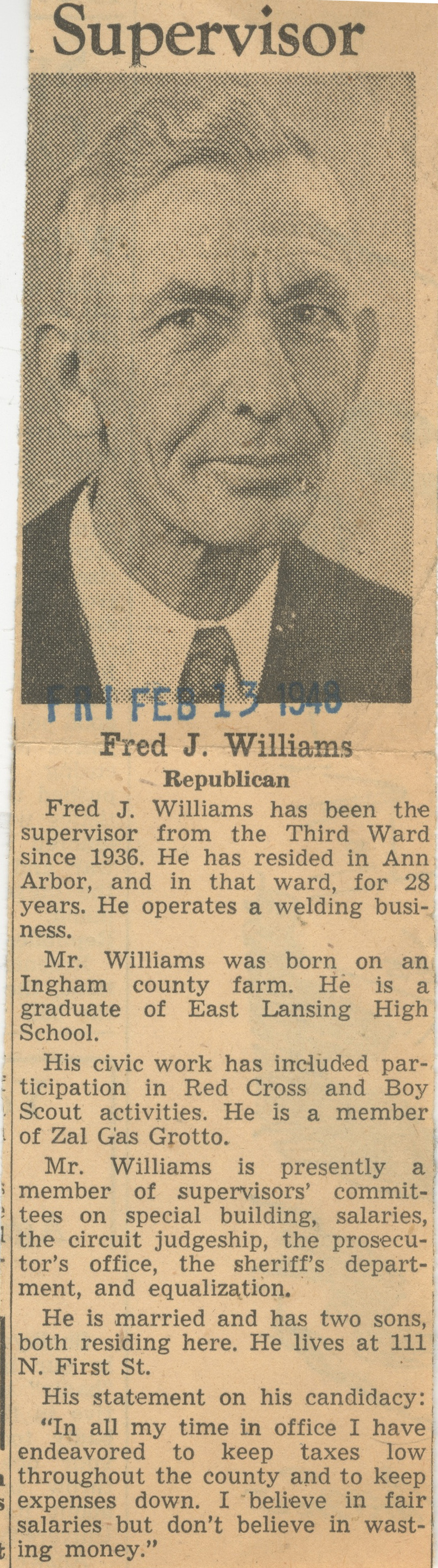 Supervisor - Fred J. Williams Republican image