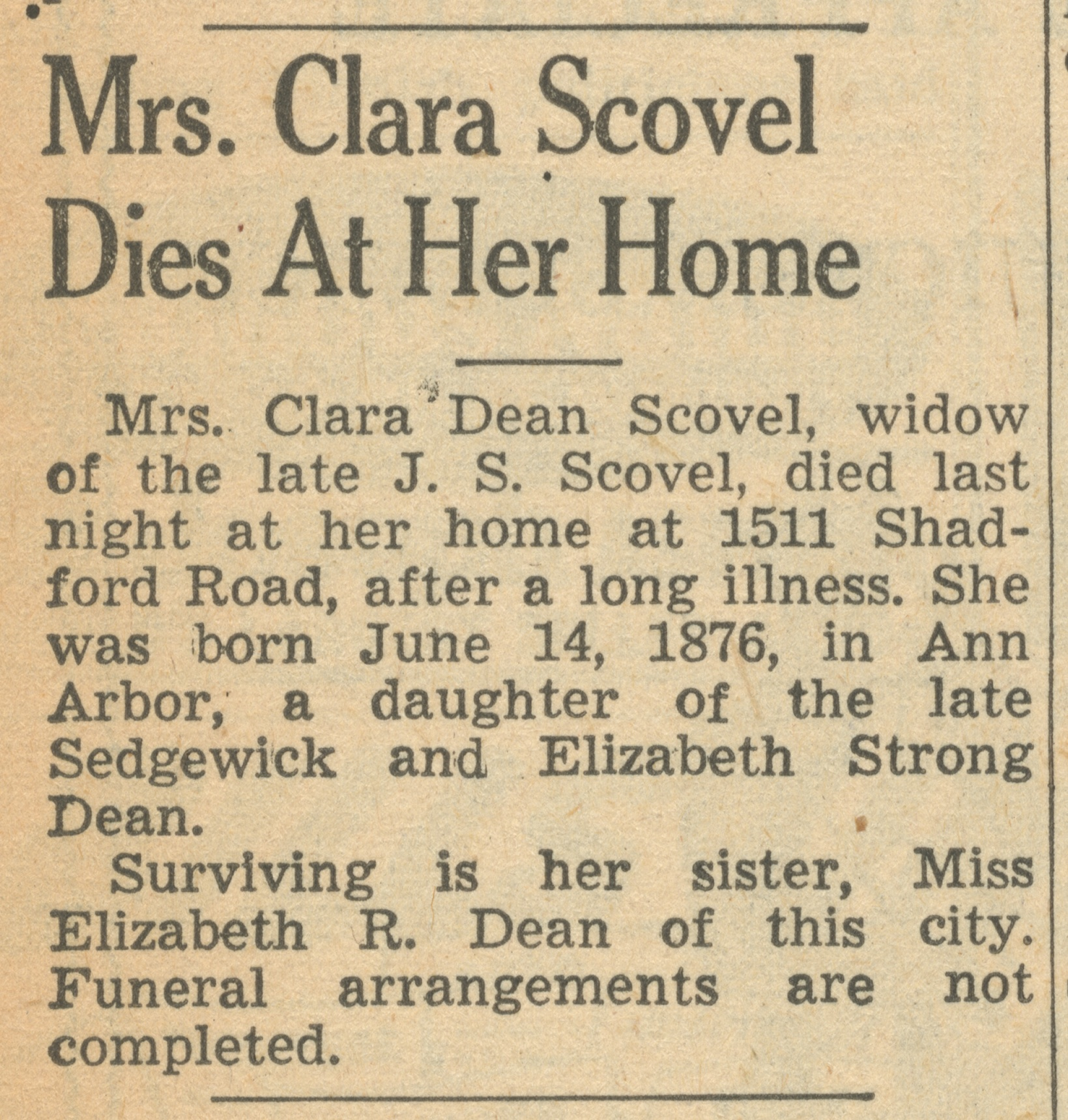 Mrs. Clara Scovel Dies At Her Home image
