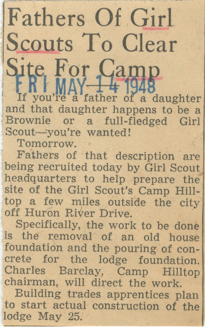Fathers Of Girl Scouts To Clear Site For Camp image