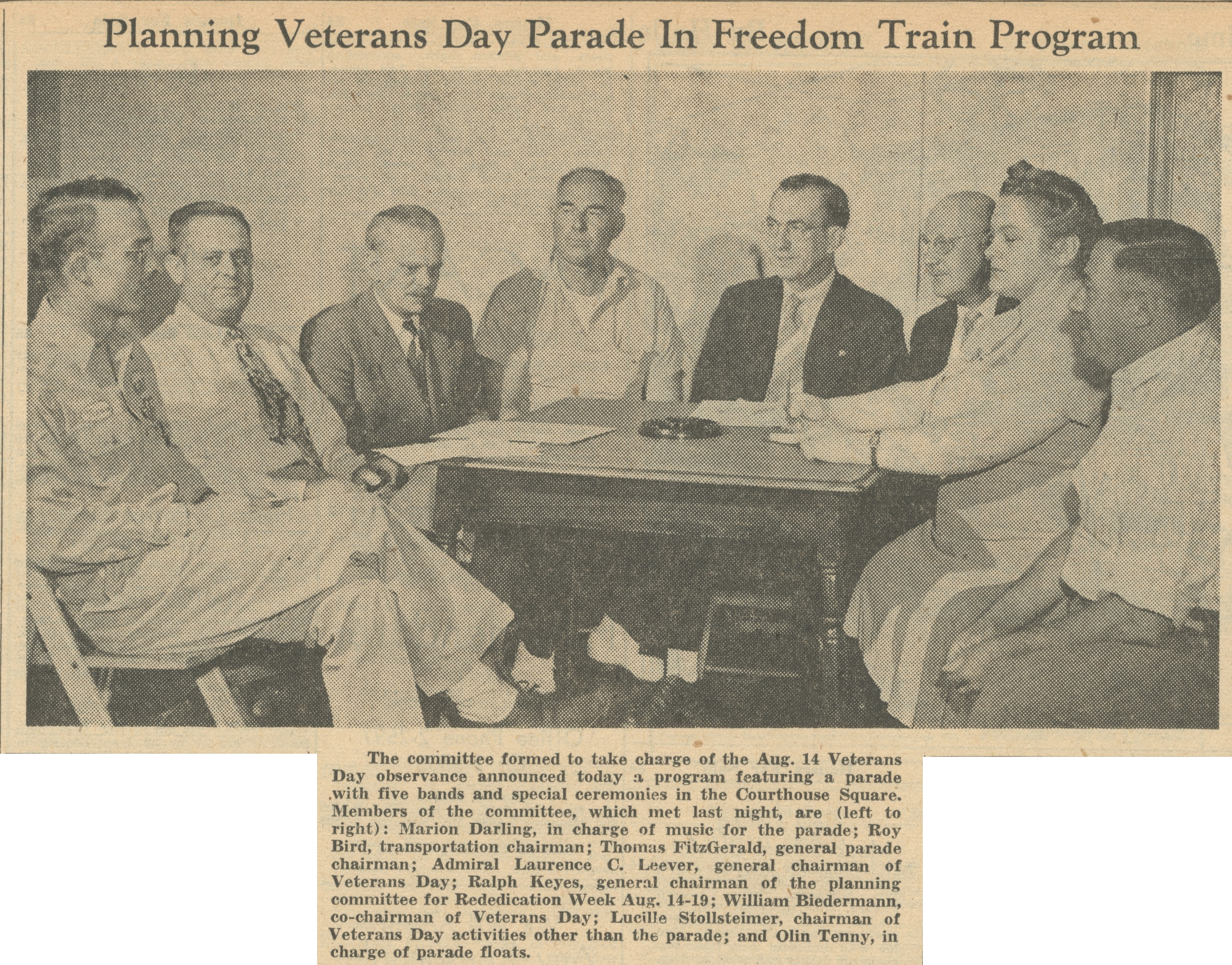 Planning Veterans Day Parade In Freedom Train Program image