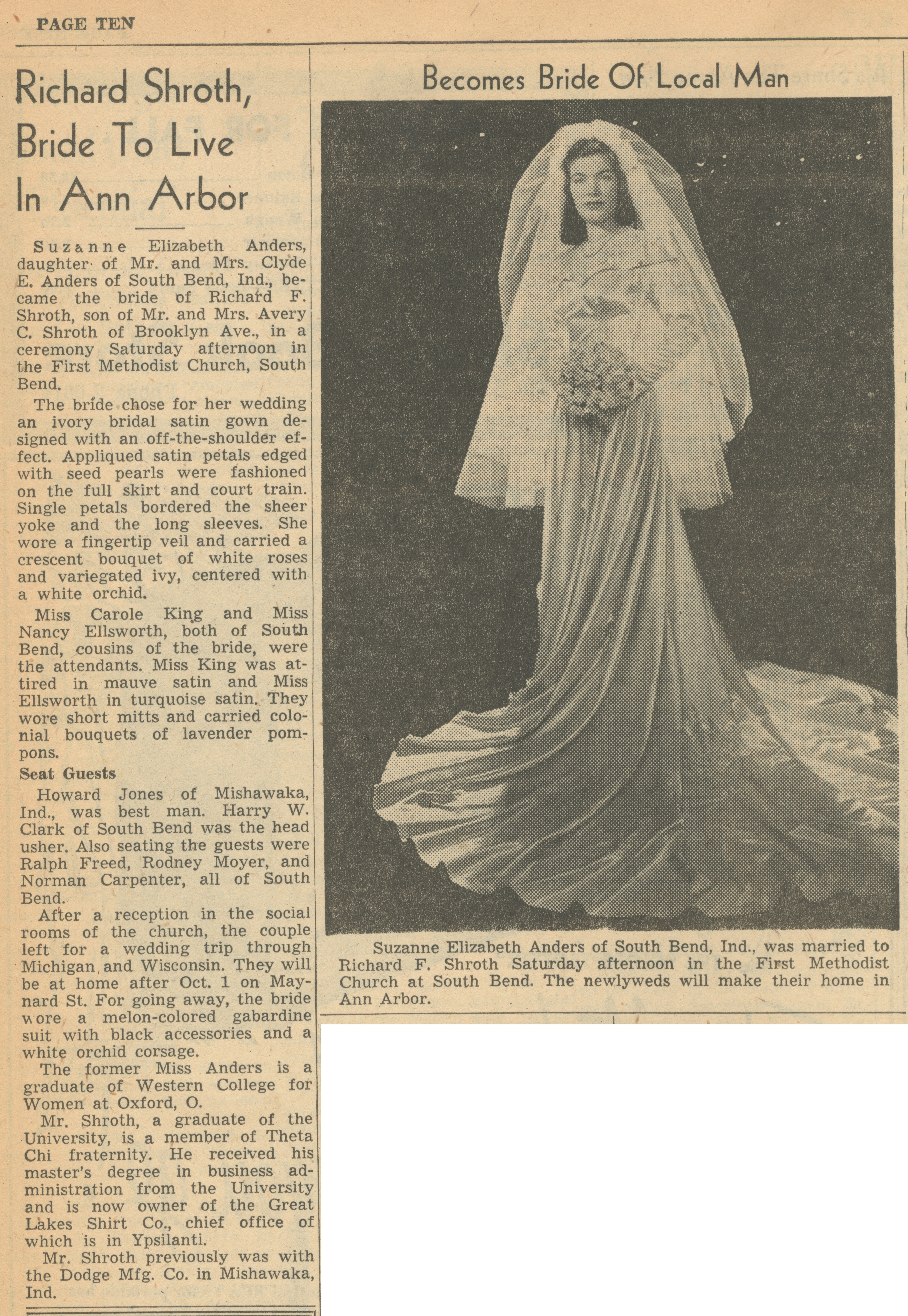 Richard Shroth, Bride To Live In Ann Arbor image