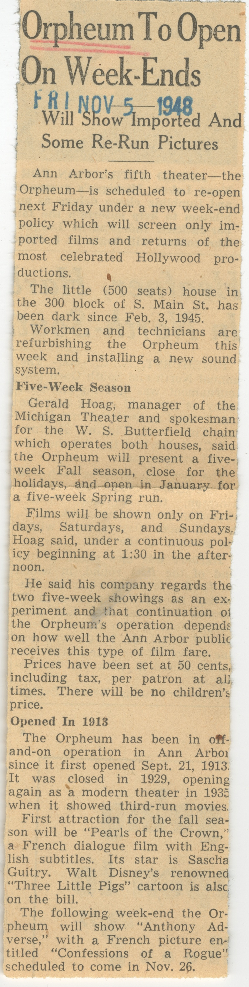 Orpheum To Open On Week-Ends image