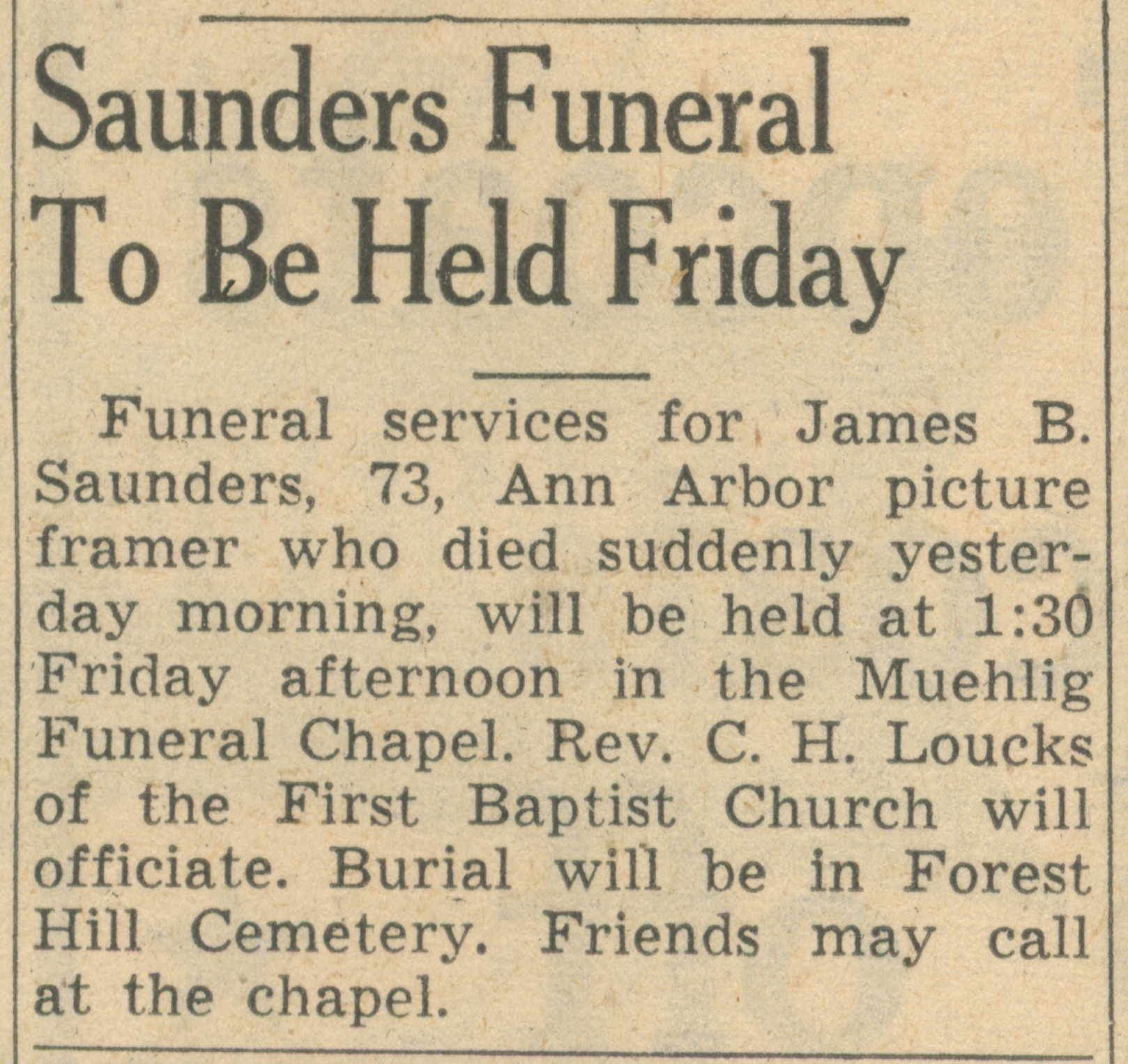 Saunders Funeral To Be Held Friday image