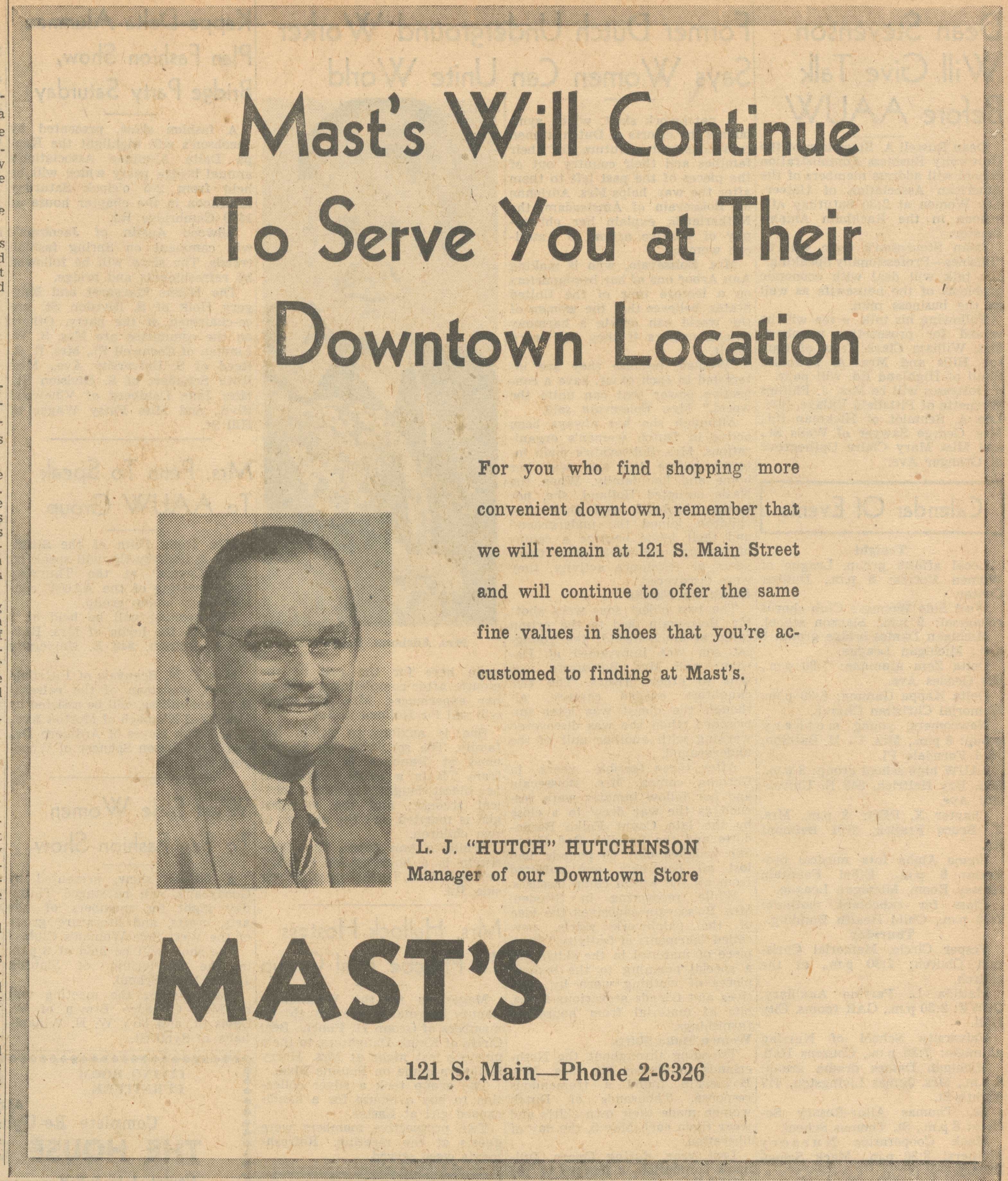 Mast's Will Continue To Serve You At Their Downtown Location image