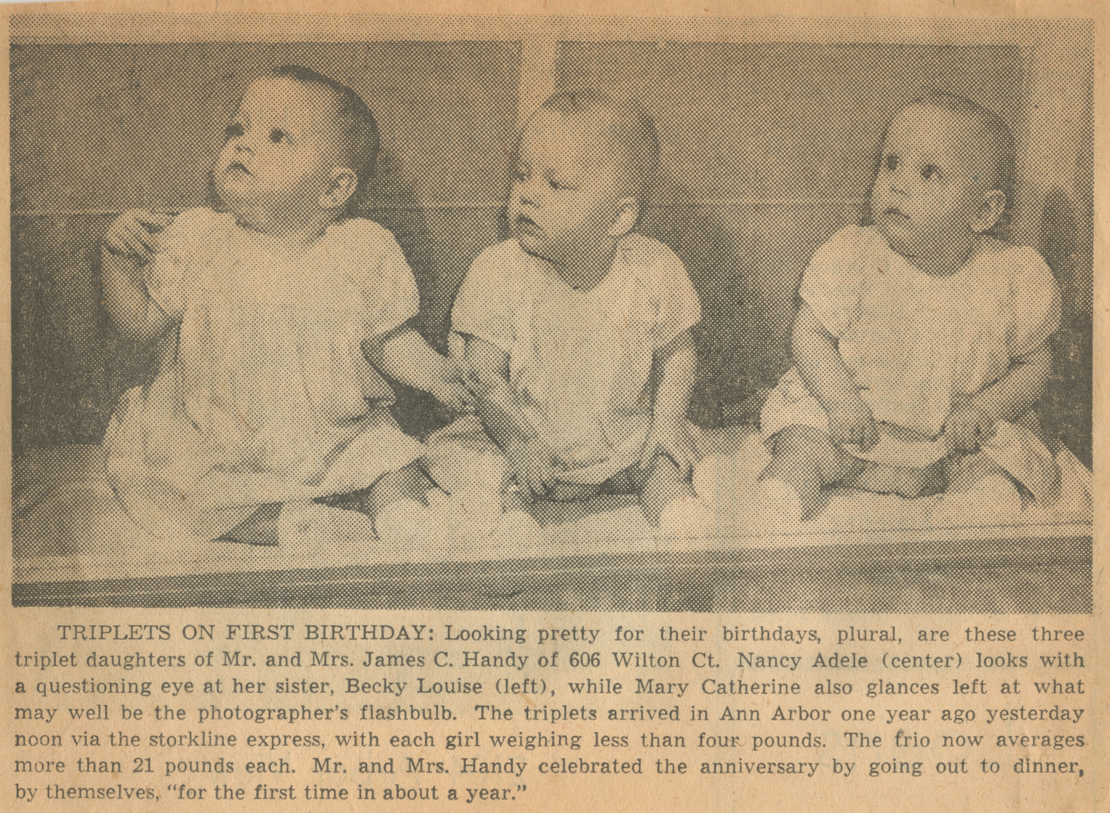 Triplets On First Birthday image
