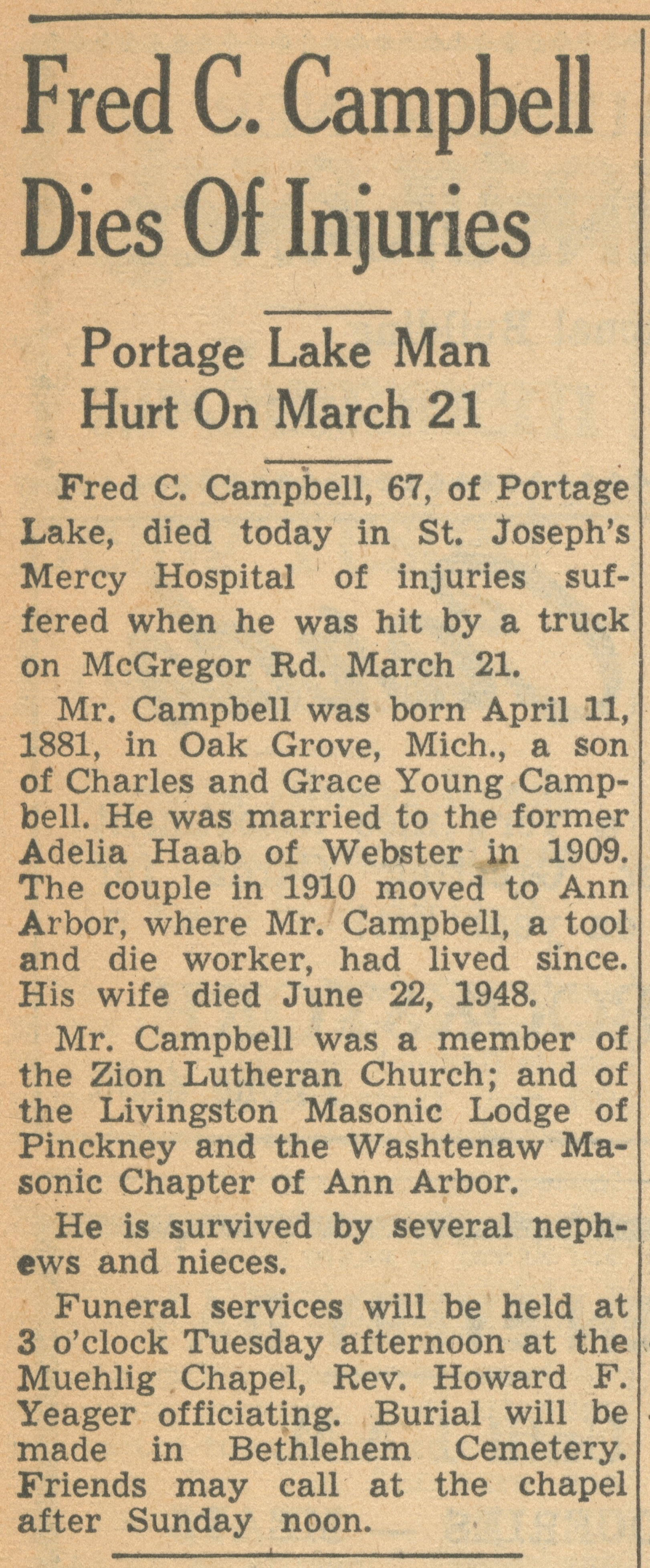 Fred C. Campbell Dies Of Injuries image
