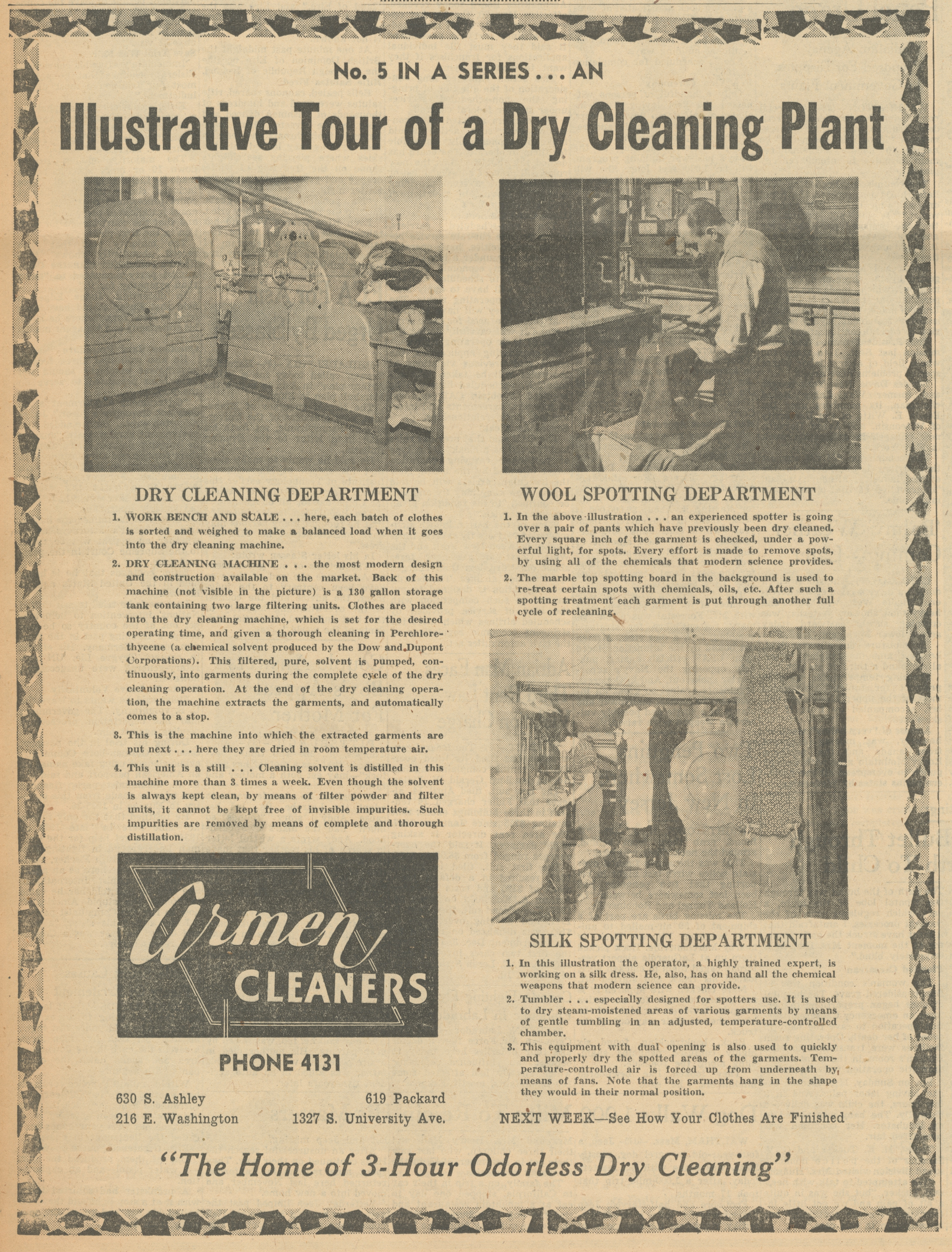 An Illustrative Tour Of A Dry Cleaning Plant No 5 Armen Cleaners Ann Arbor District Library