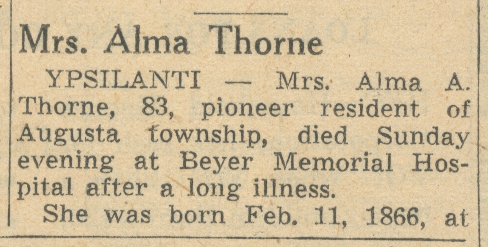Mrs. Alma Thorne image